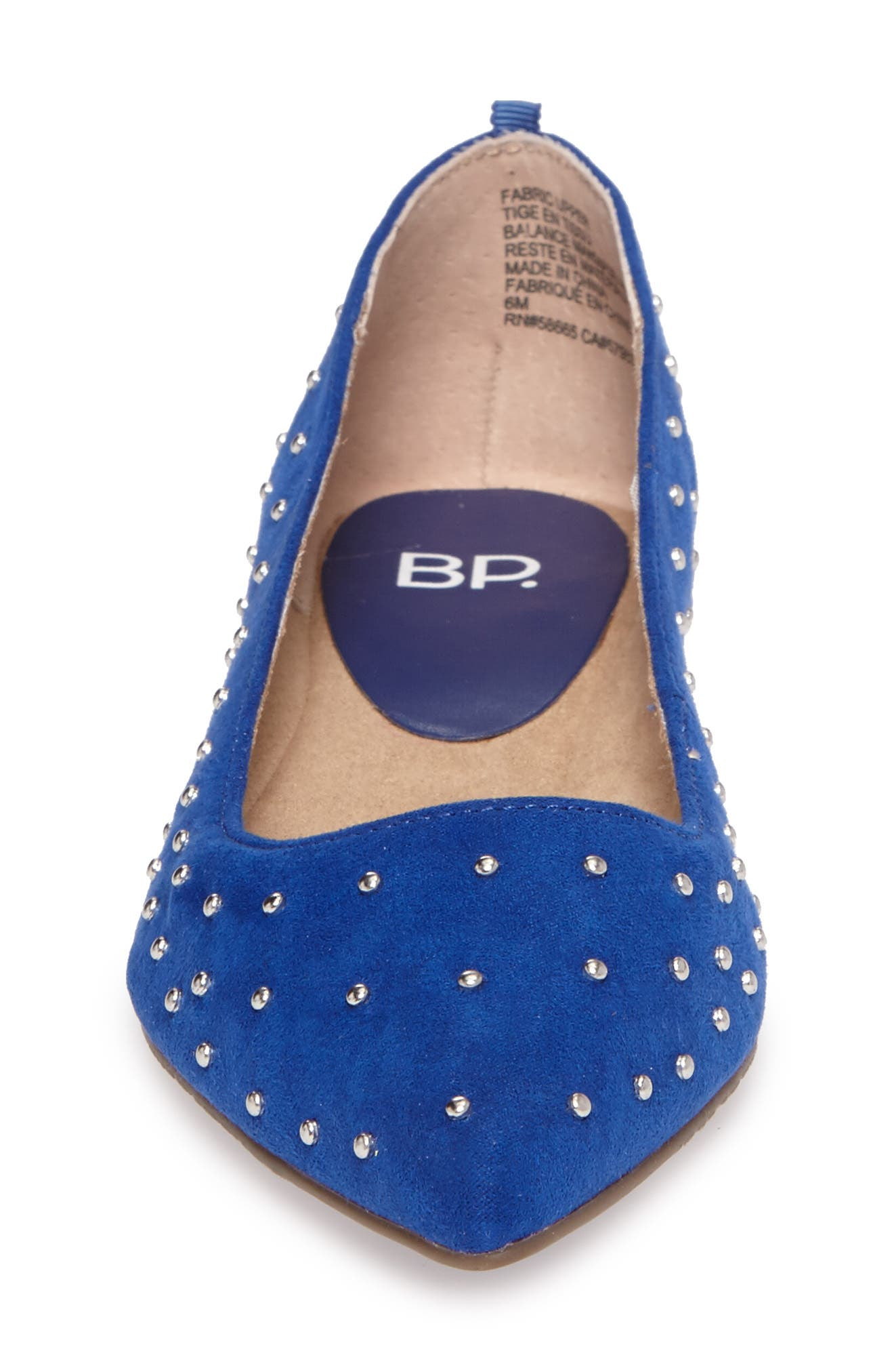 Sienna Flat,                             Alternate thumbnail 4, color,                             Cobalt Faux Suede