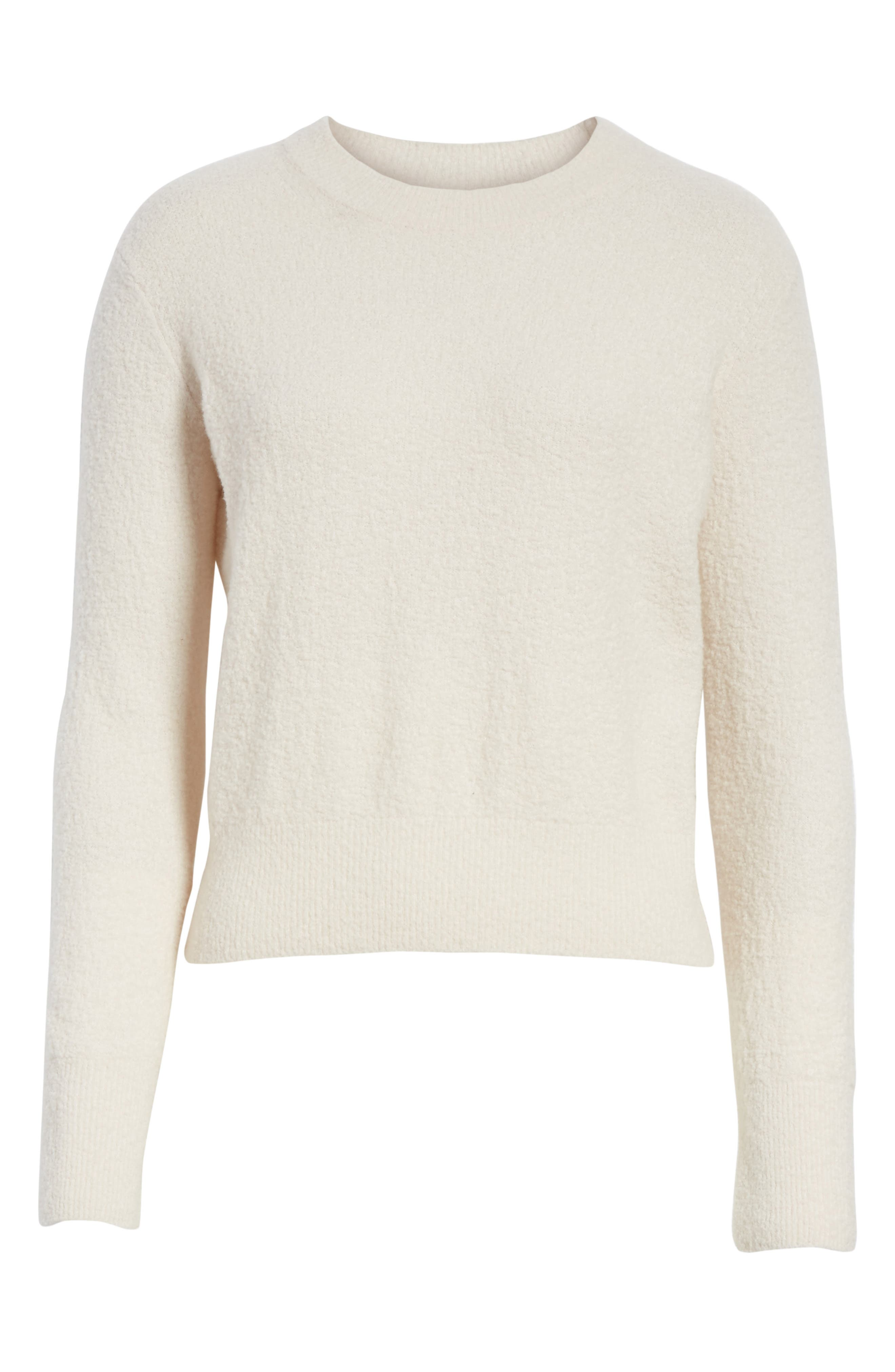 Crewneck Wool Blend Sweater,                             Alternate thumbnail 6, color,                             Off White