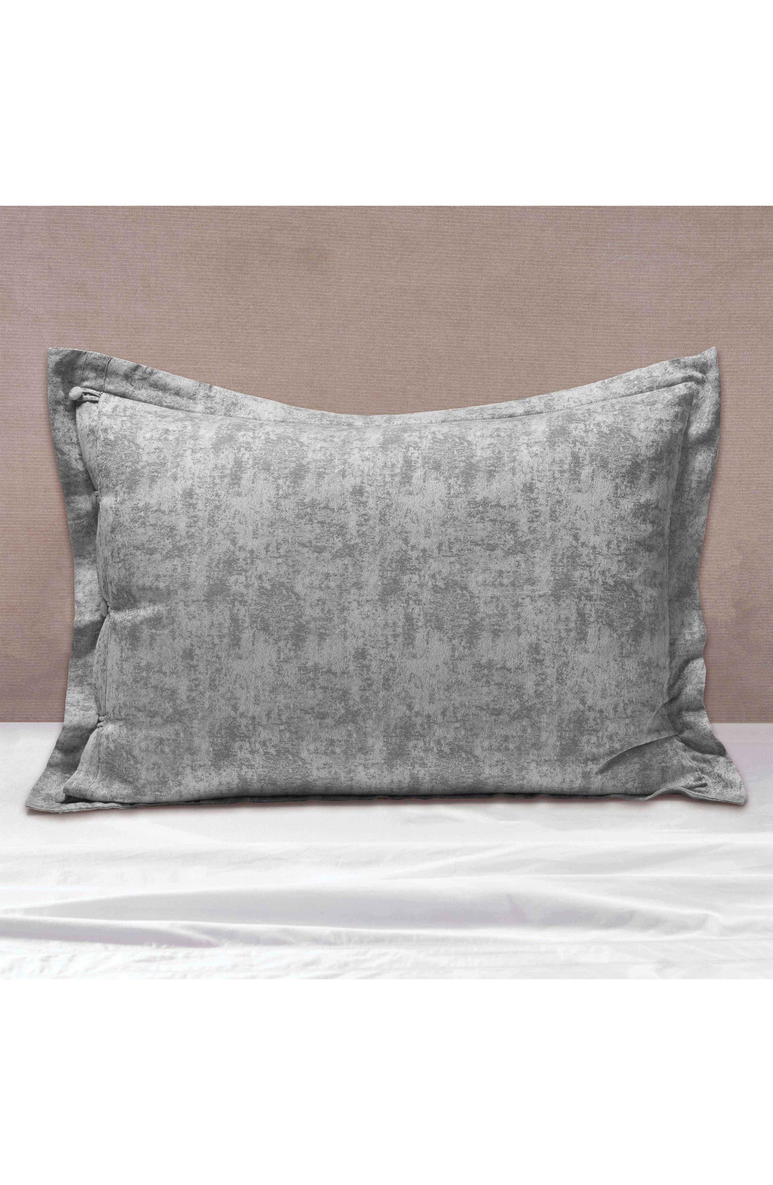 The Flaneur Organic Cotton Jacquard Sham,                             Alternate thumbnail 3, color,                             Fog Grey