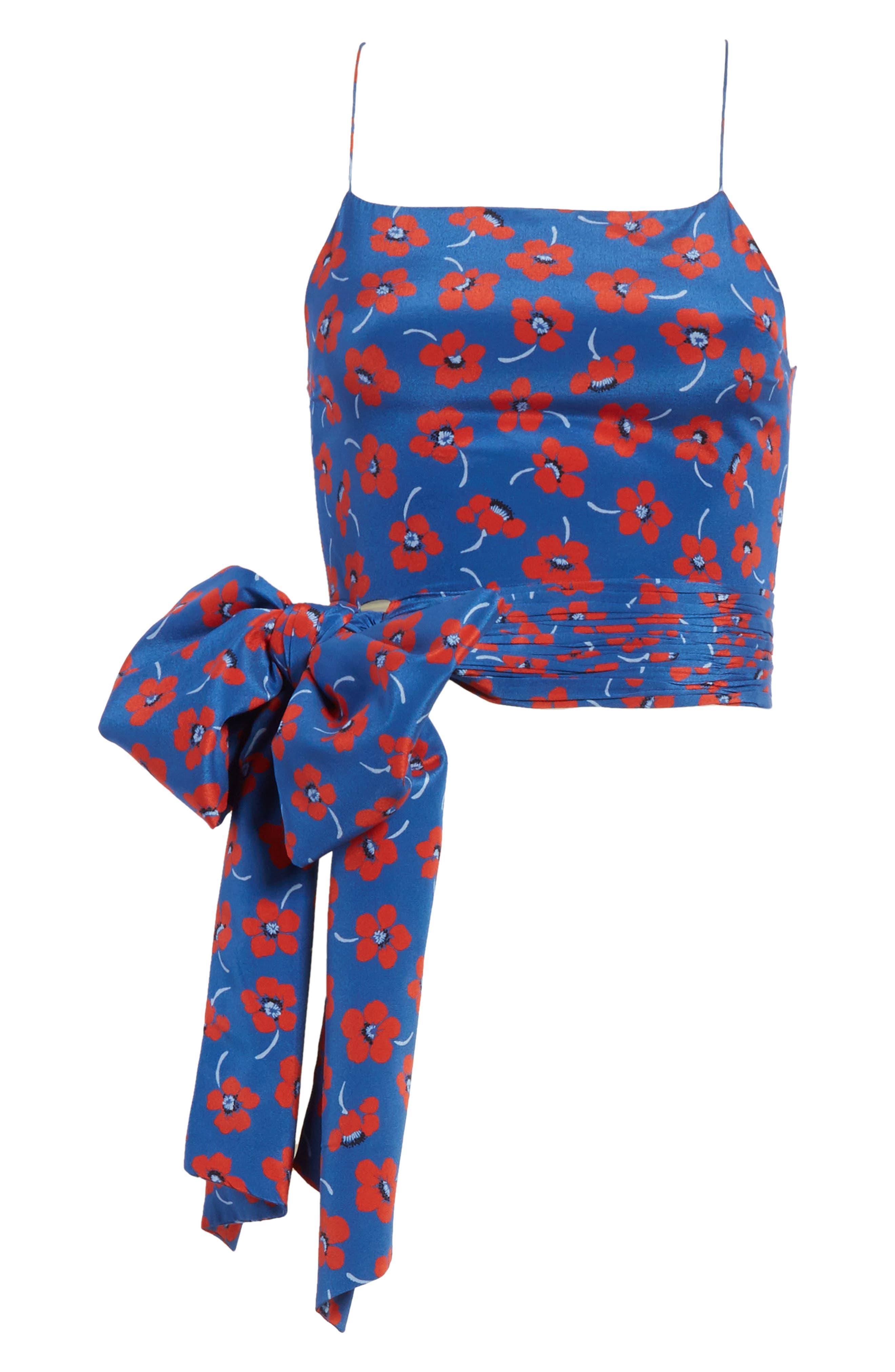 Diedra Tie Waist Silk Crop Top,                             Alternate thumbnail 6, color,                             Floating Floral/ Blue Quartz