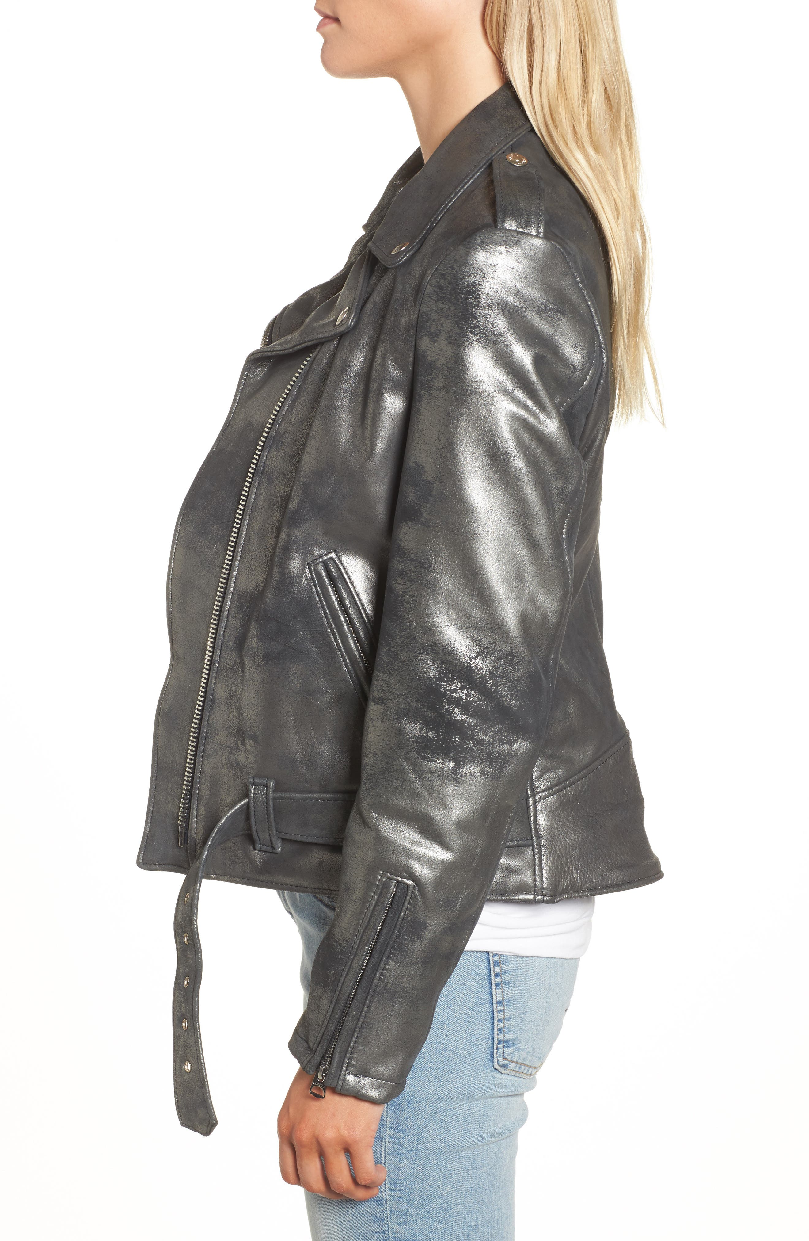 Perfecto Distressed Leather Boyfriend Jacket,                             Alternate thumbnail 3, color,                             Graphite