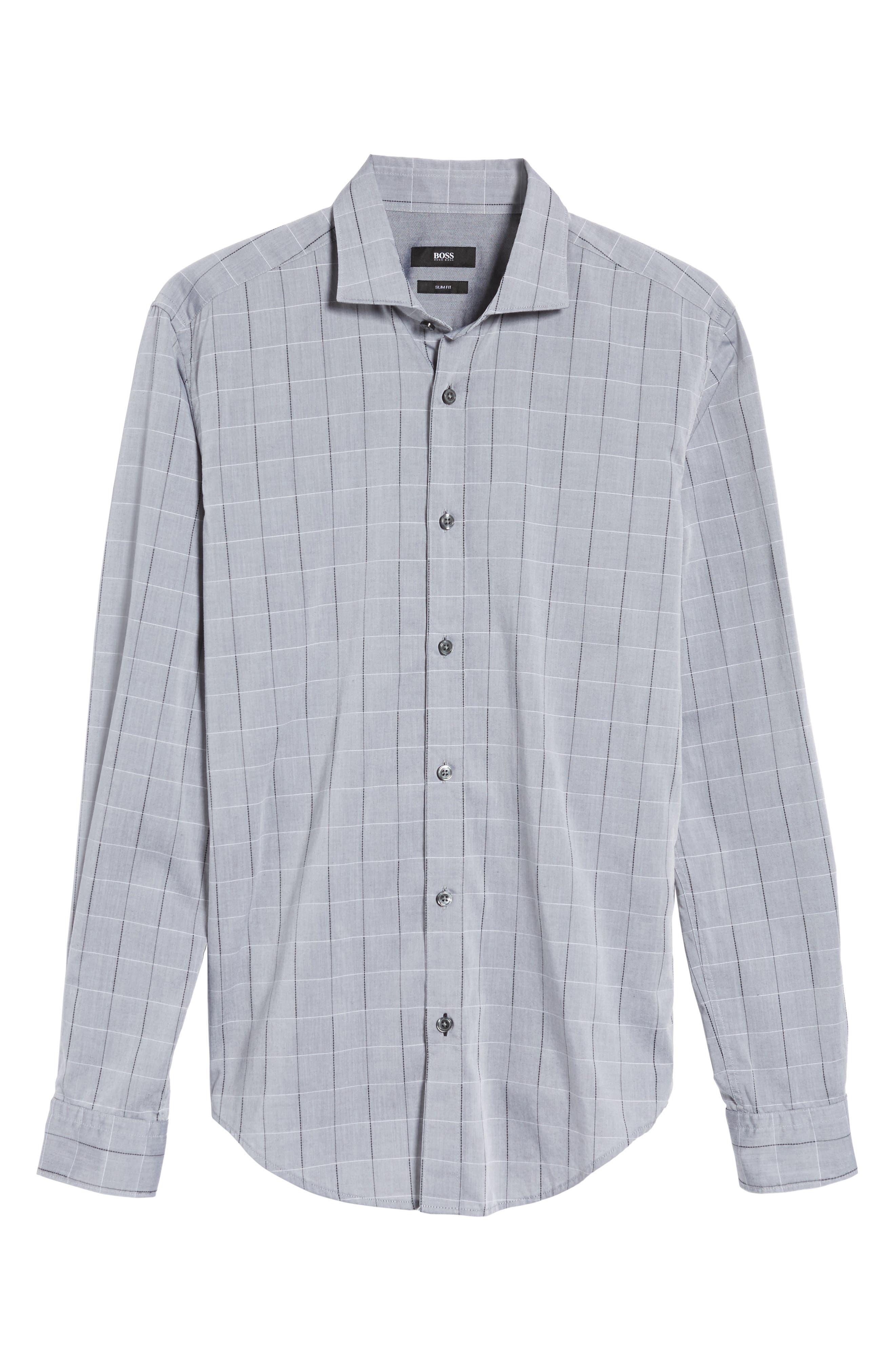 Ridley Slim Fit Dobby Check Sport Shirt,                             Alternate thumbnail 6, color,                             Grey
