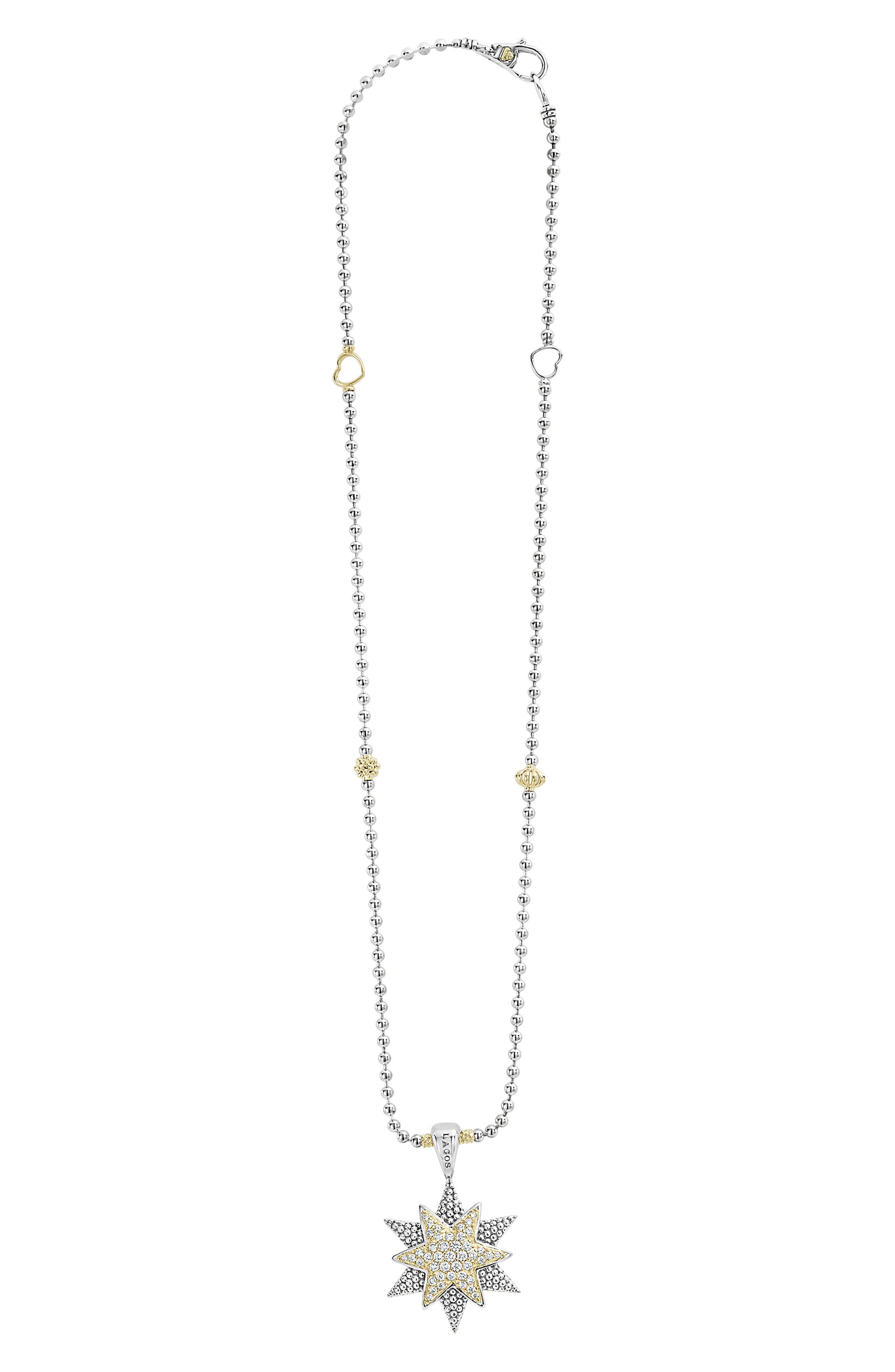 North Star Large Diamond Pendant Necklace,                         Main,                         color, Diamond
