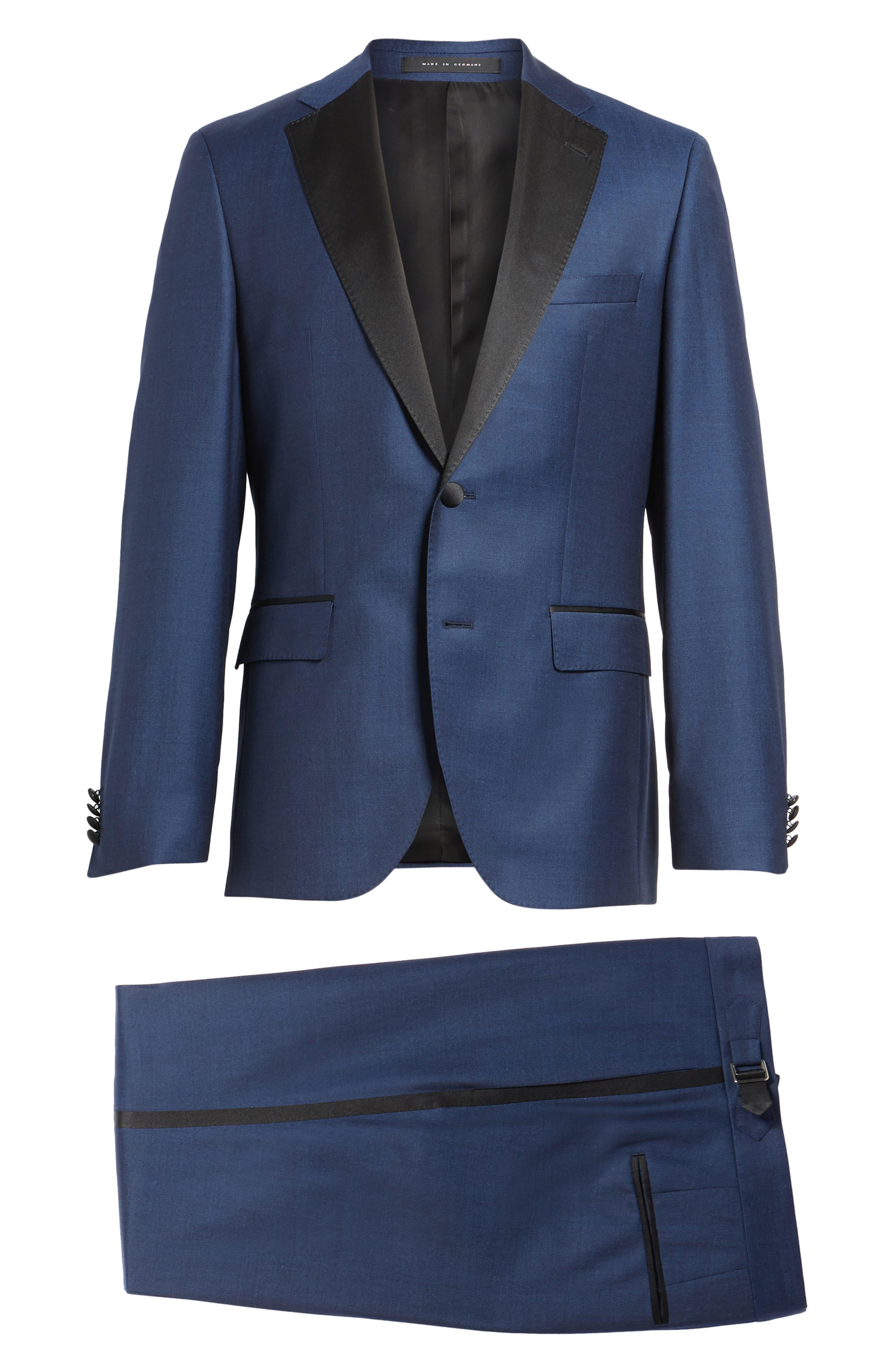 Jelvan/Livan Trim Fit Wool & Silk Tuxedo,                             Alternate thumbnail 8, color,                             Medium Blue