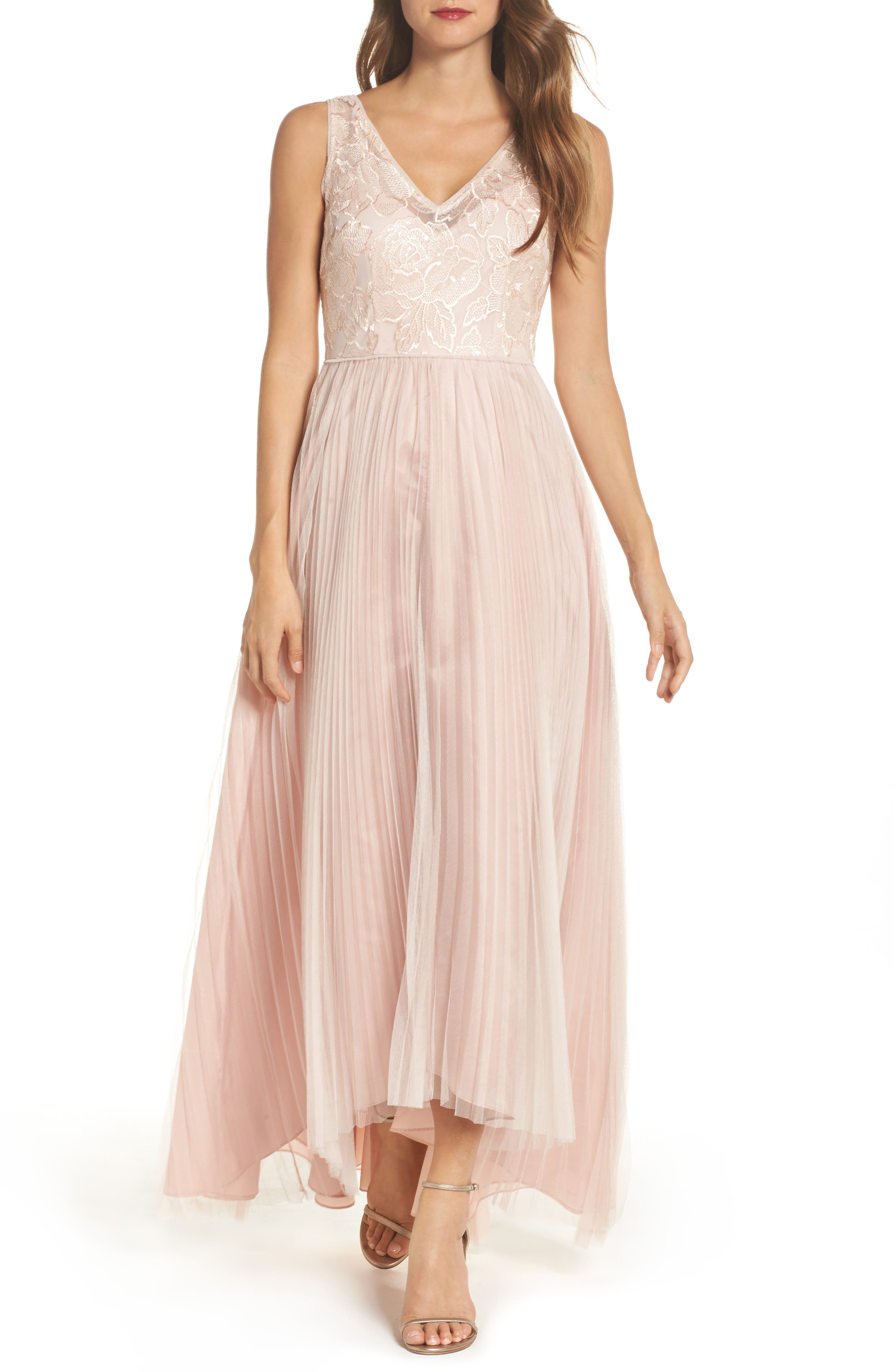 Sequin Pleated Tulle High/Low Gown,                         Main,                         color, Blush