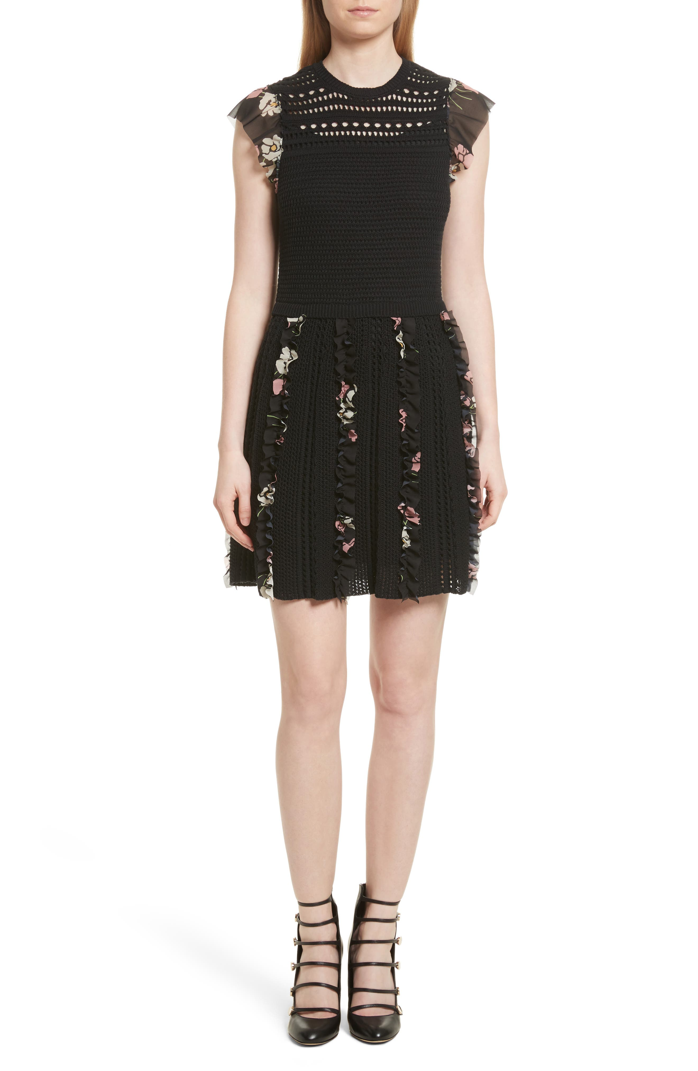 Red valentino floral detail long sleeve dress