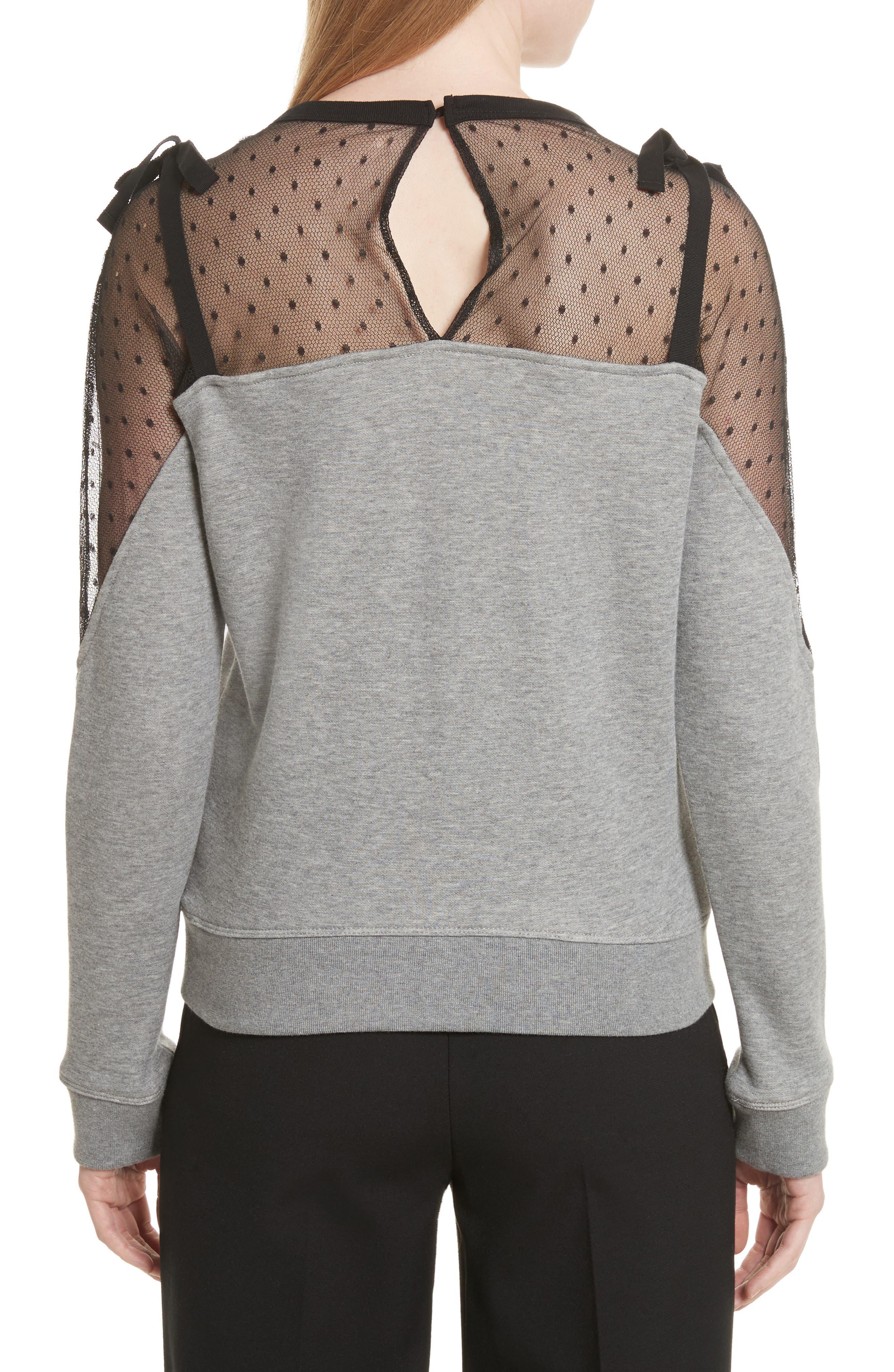 Point D'esprit Sweatshirt,                             Alternate thumbnail 2, color,                             Grey