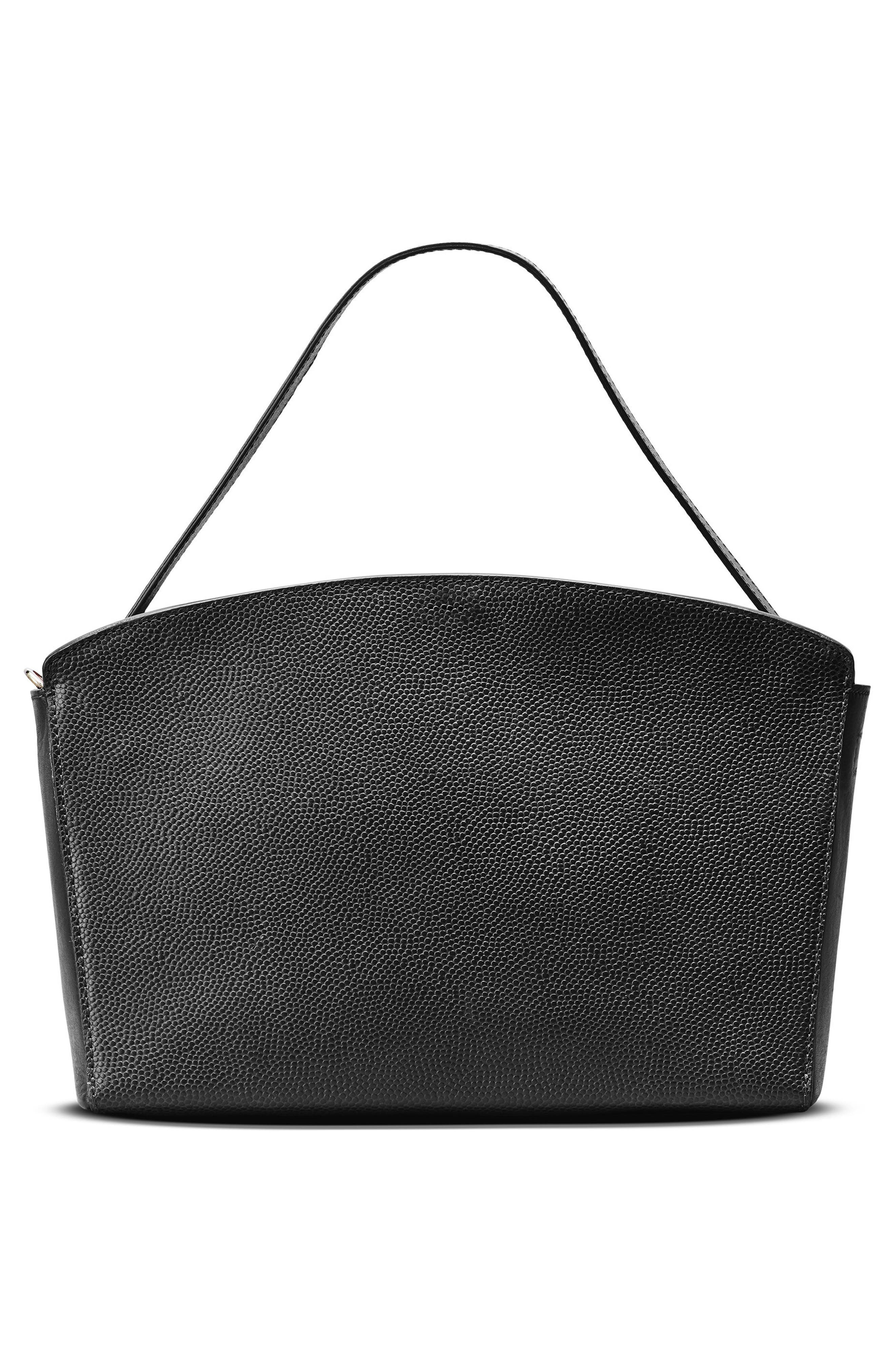 Curved Latigo Leather Satchel,                             Alternate thumbnail 2, color,                             Black