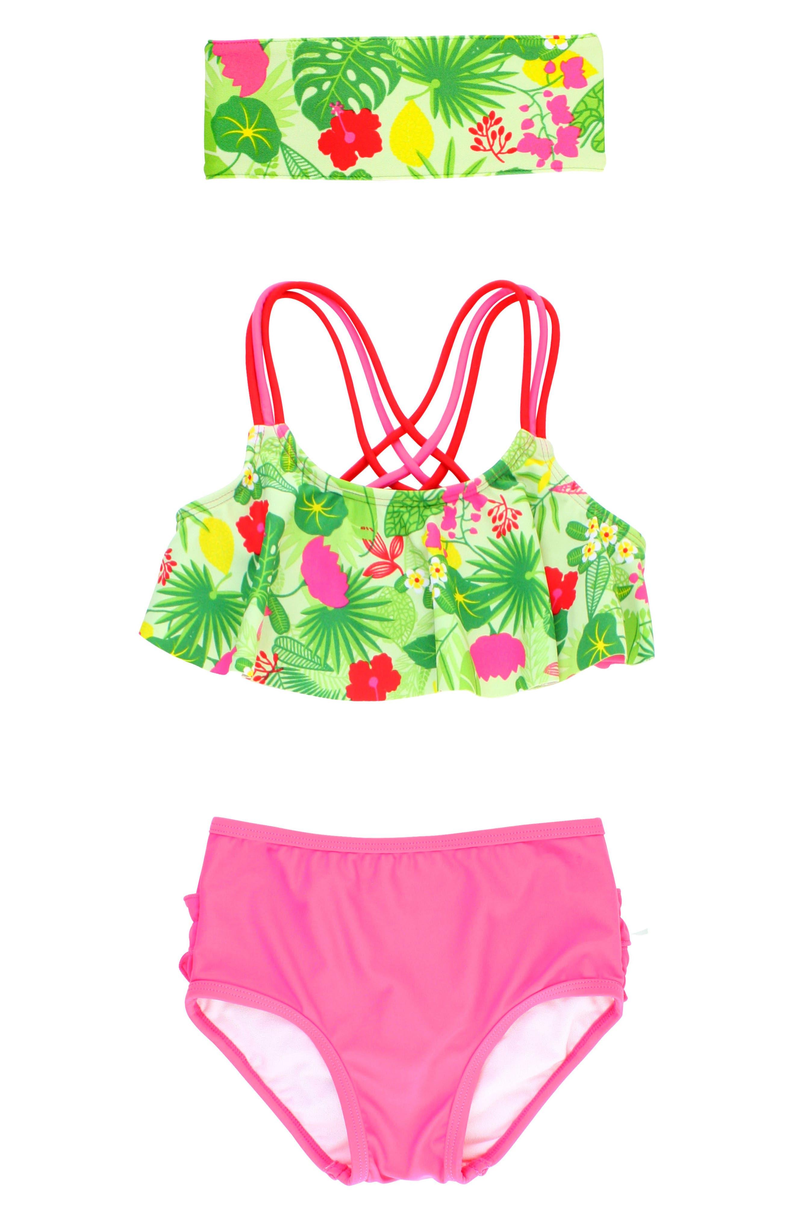Main Image - RuffleButts Tropical Two-Piece Swimsuit & Headband Set (Toddler Girls)