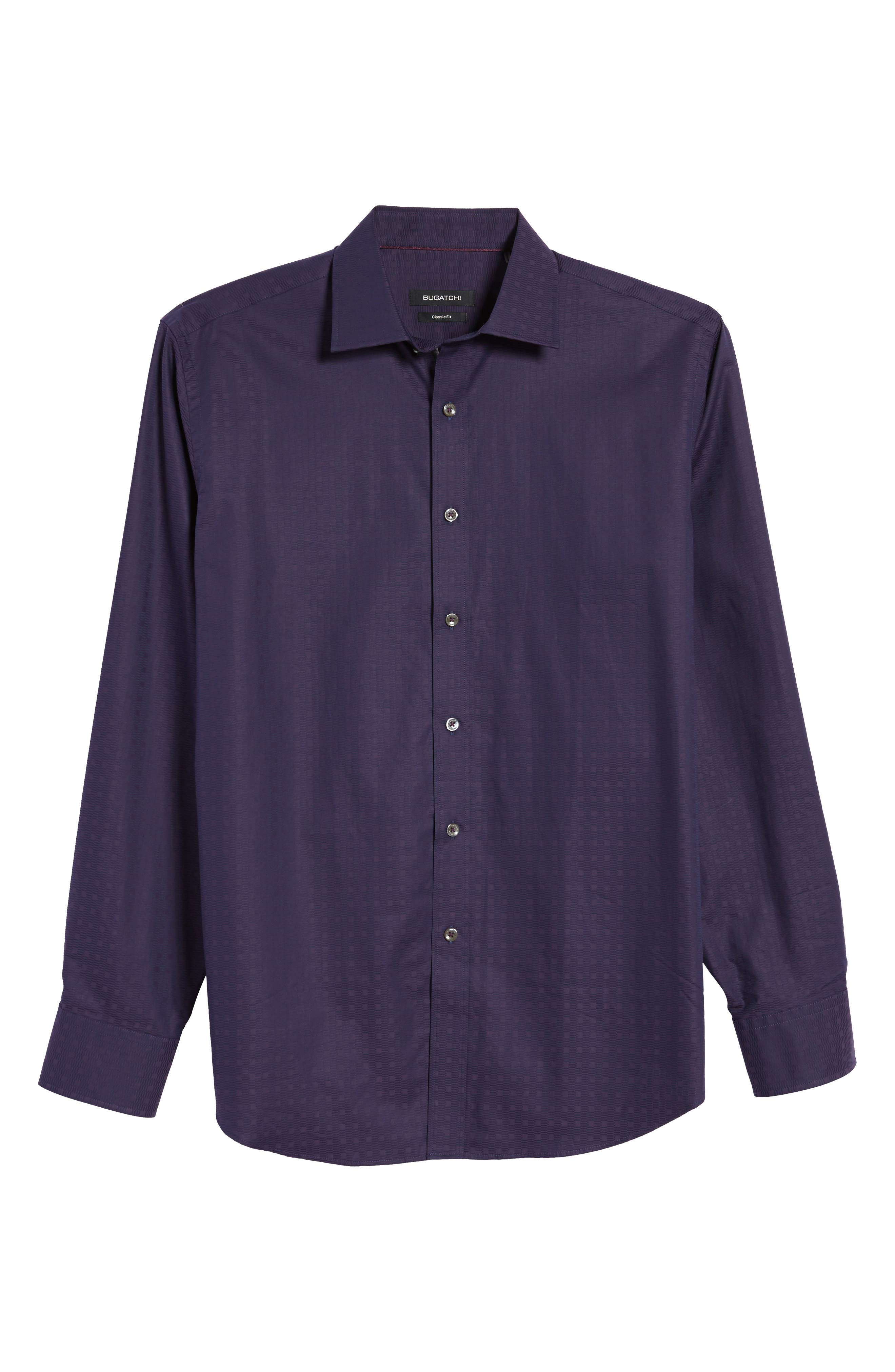 Classic Fit Geo Jacquard Sport Shirt,                             Alternate thumbnail 6, color,                             Plum
