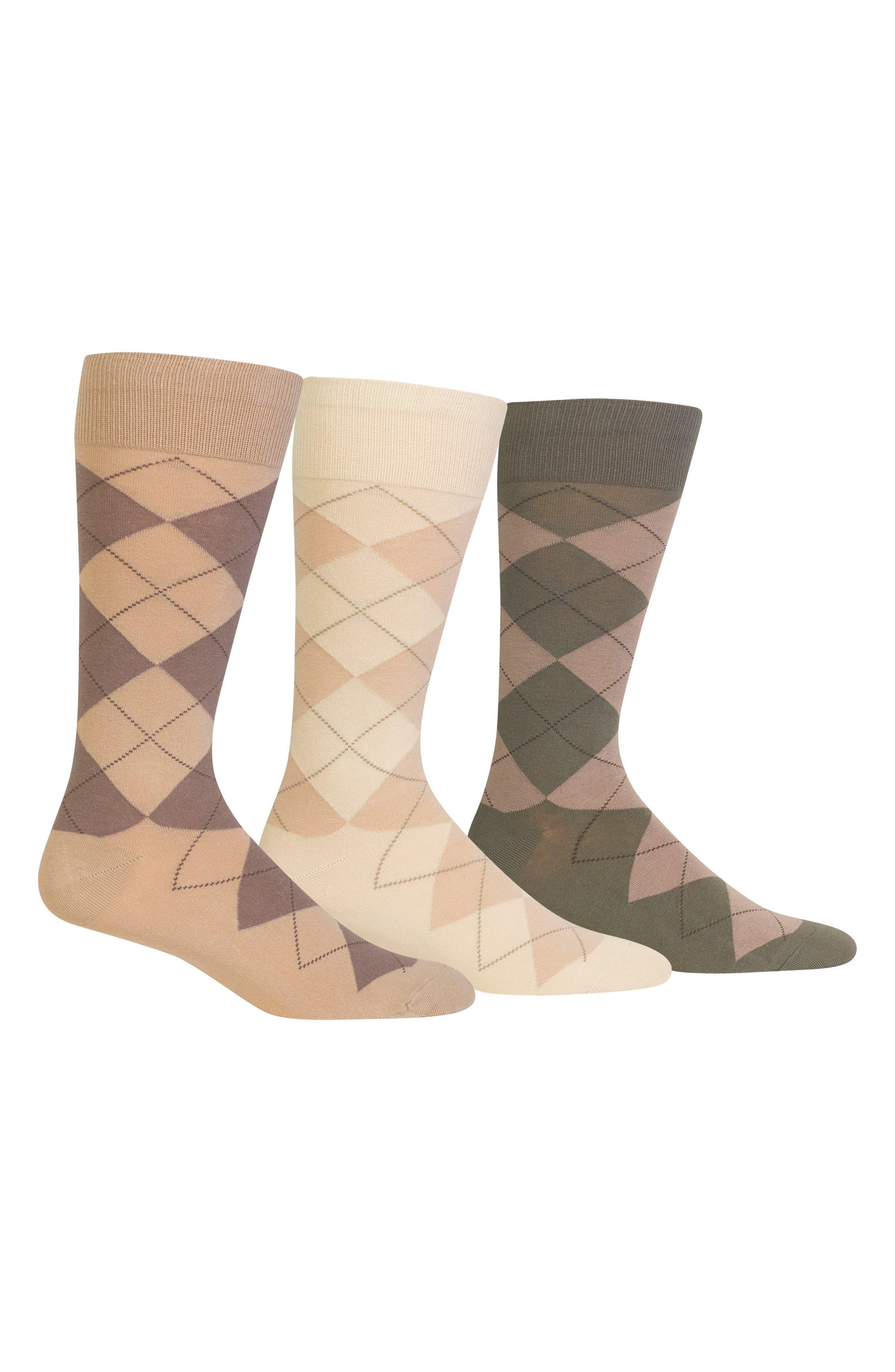 3-Pack Argyle Socks,                         Main,                         color, Lt Coffee/ Bone White/ Tobacco
