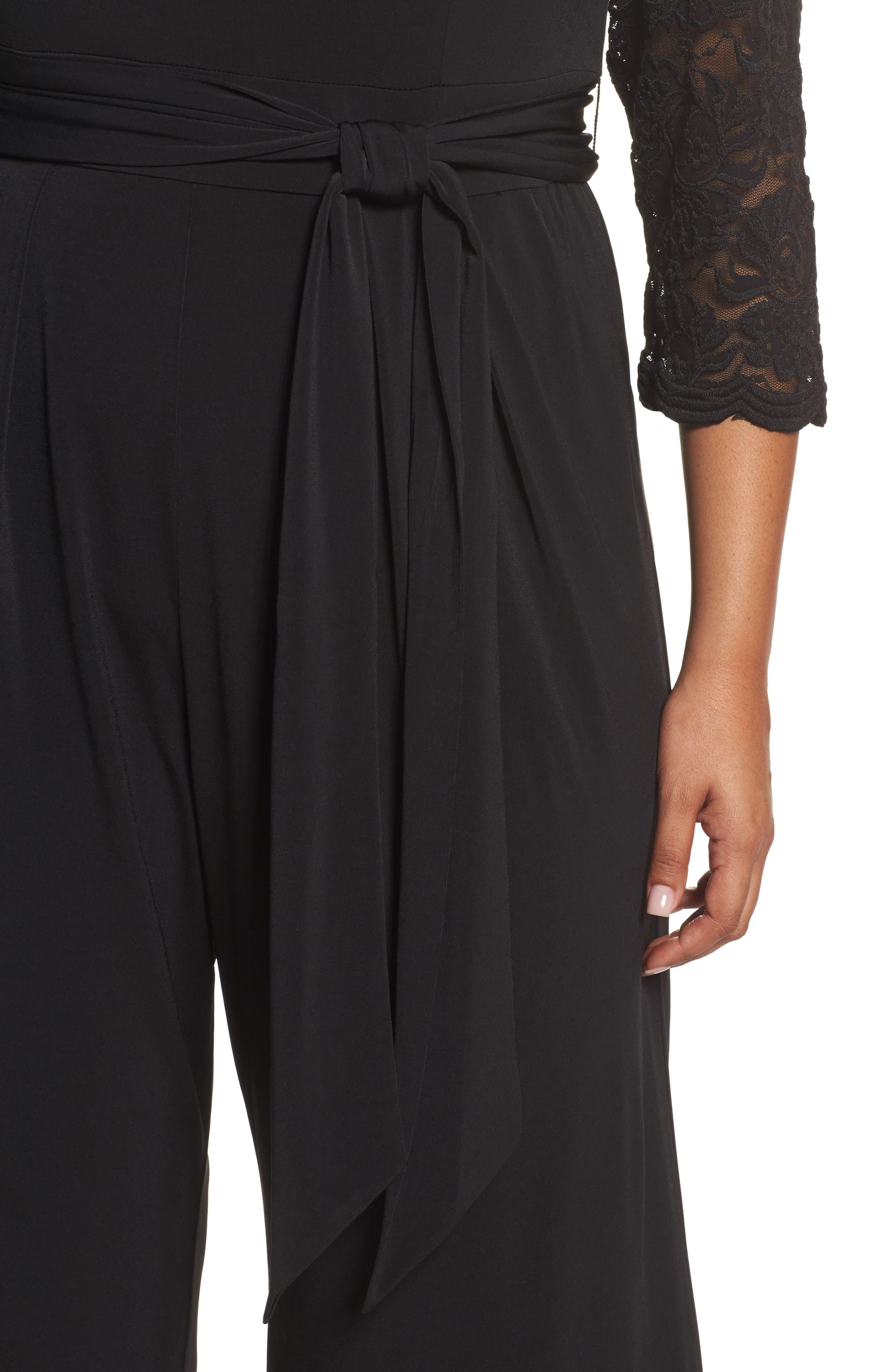 Lace Sleeve Jumpsuit,                             Alternate thumbnail 4, color,                             Black