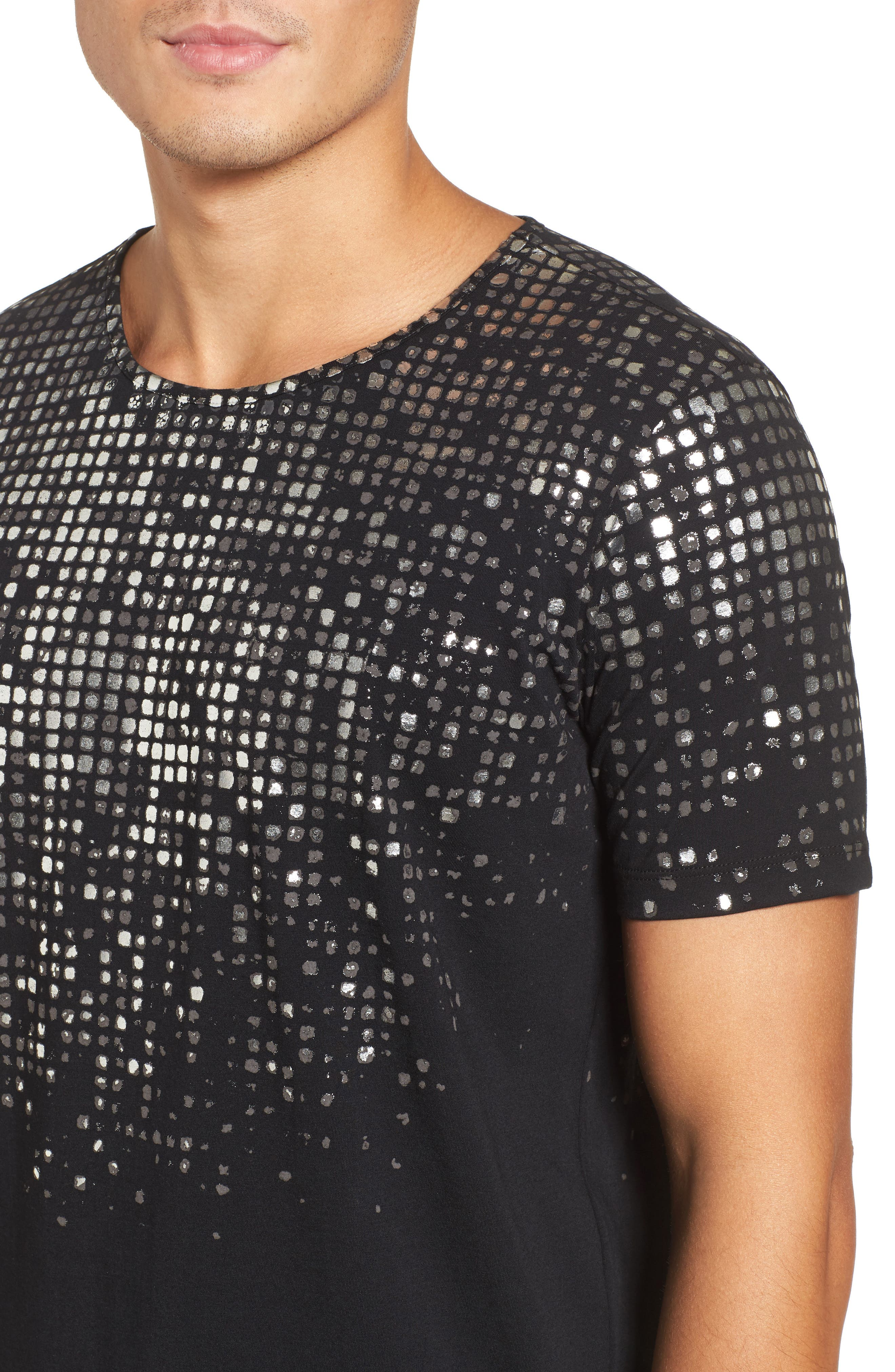 HUGO Silver Detail T-Shirt,                             Alternate thumbnail 4, color,                             Black
