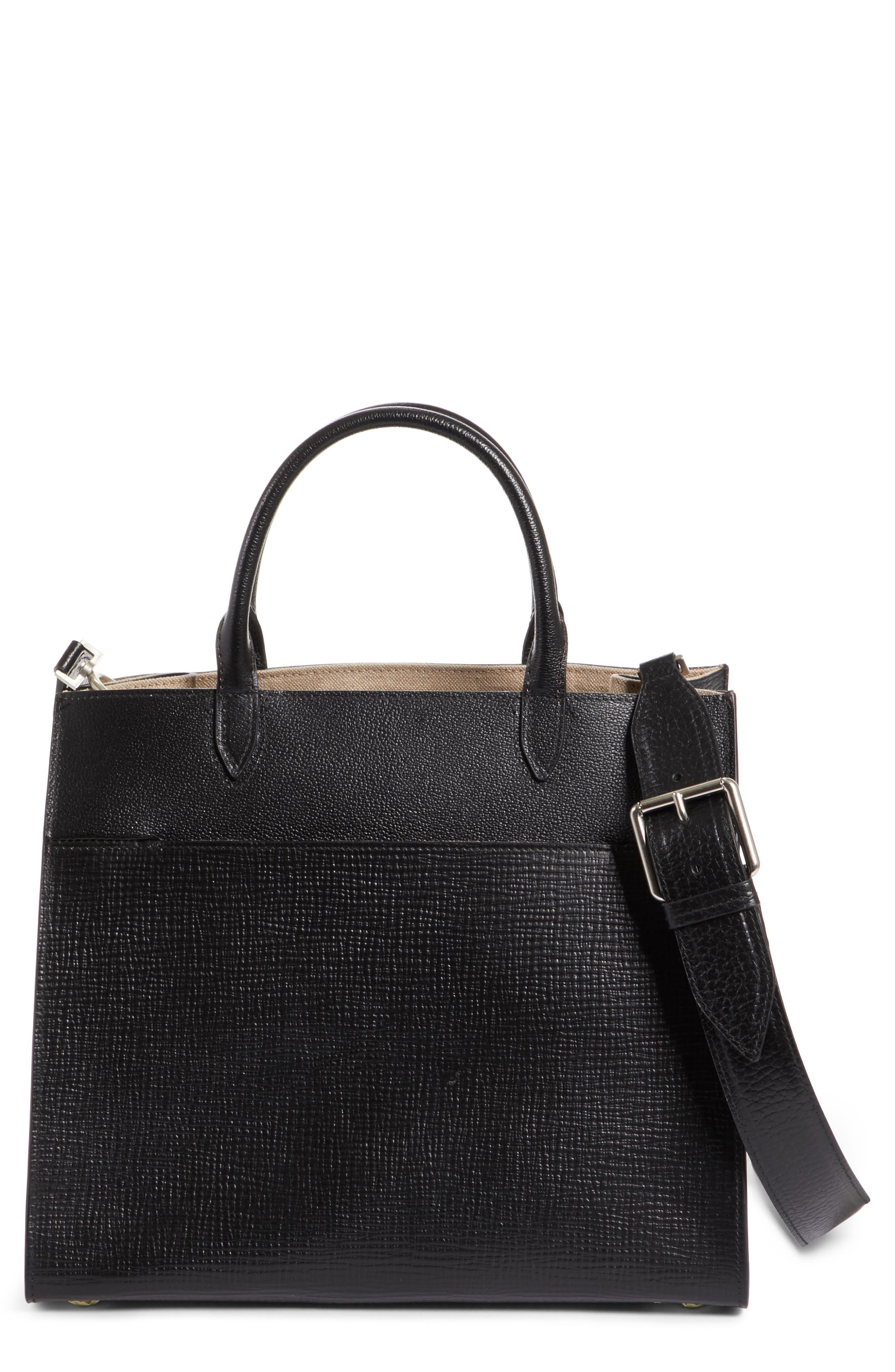 Bonded Leather Satchel,                             Main thumbnail 1, color,                             Black
