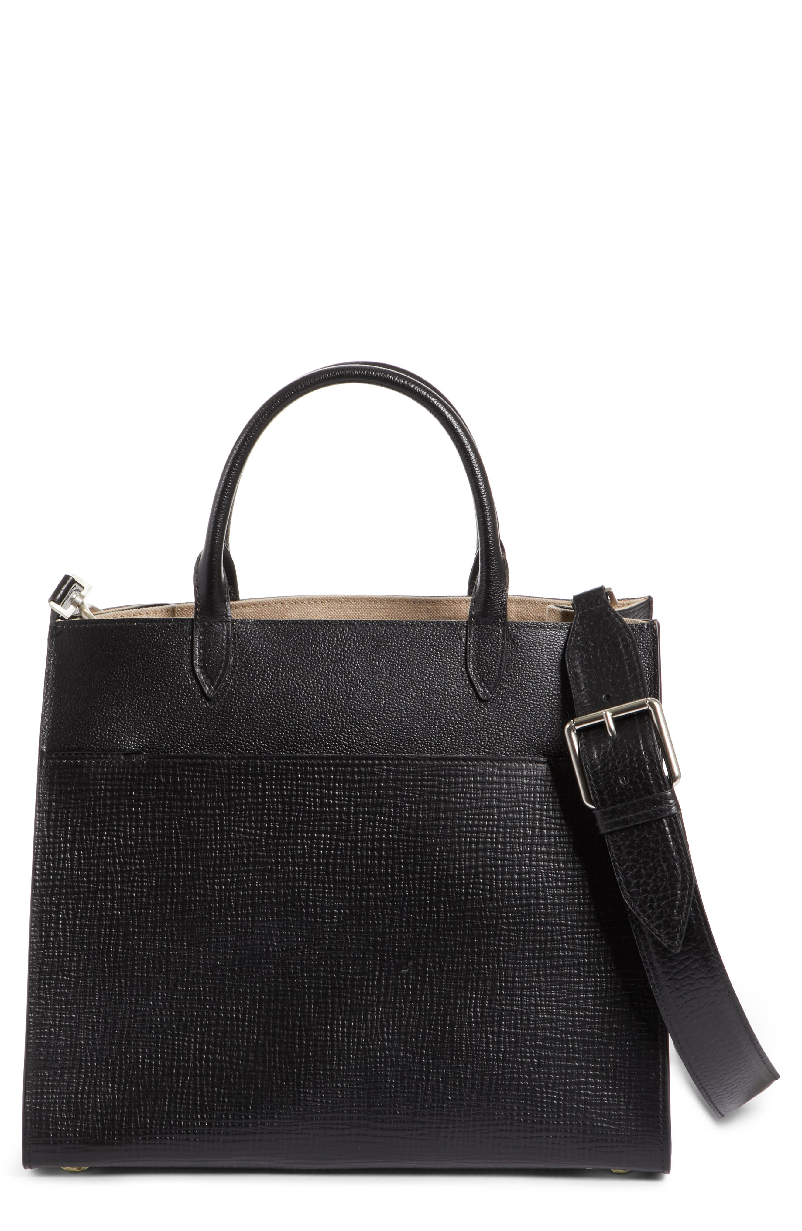 Bonded Leather Satchel,                         Main,                         color, Black