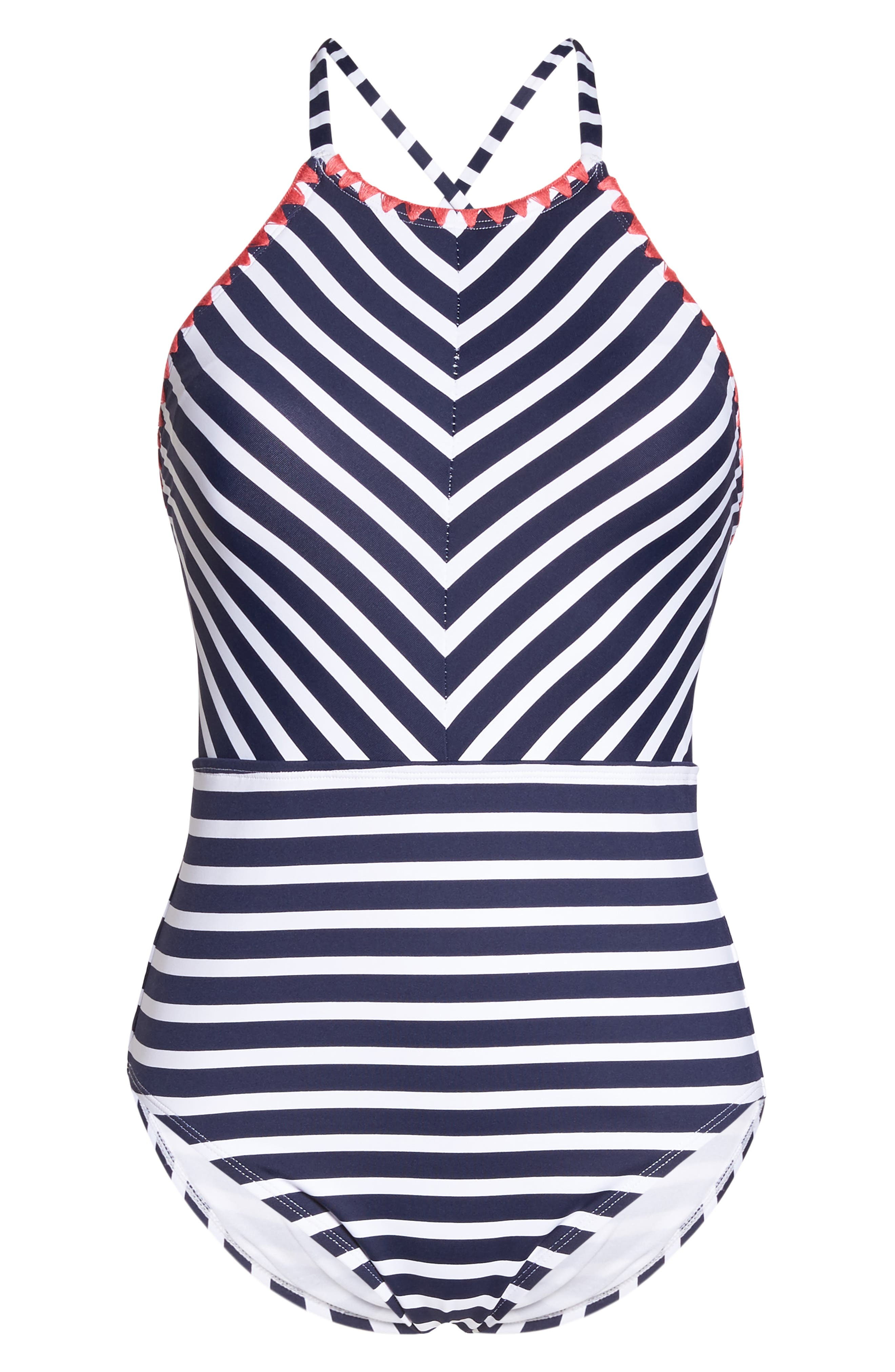 Breton Stripe One-Piece Swimsuit,                             Alternate thumbnail 6, color,                             Mare Navy/ White