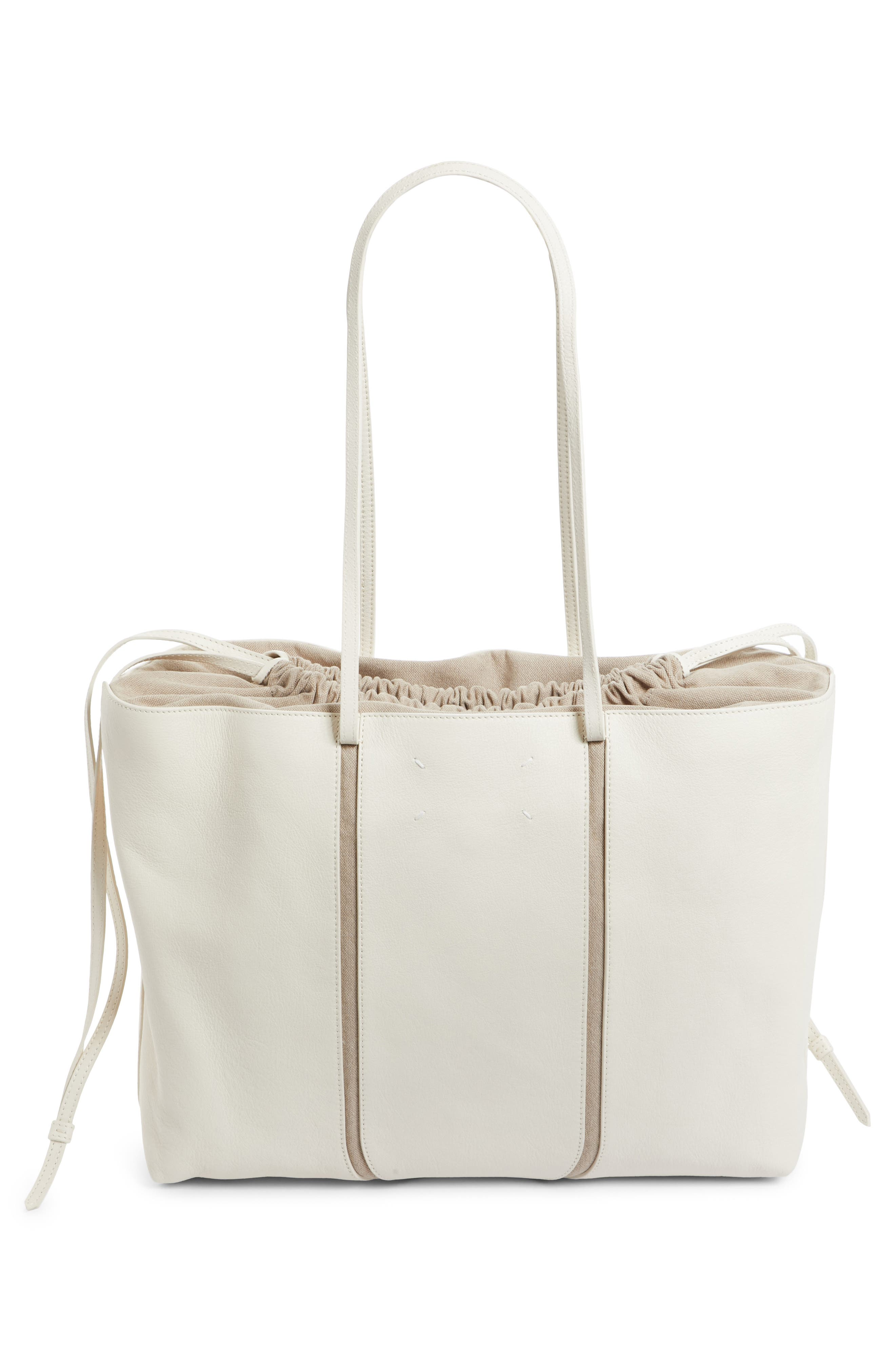 Calfskin Leather Tote,                             Alternate thumbnail 3, color,                             Cream