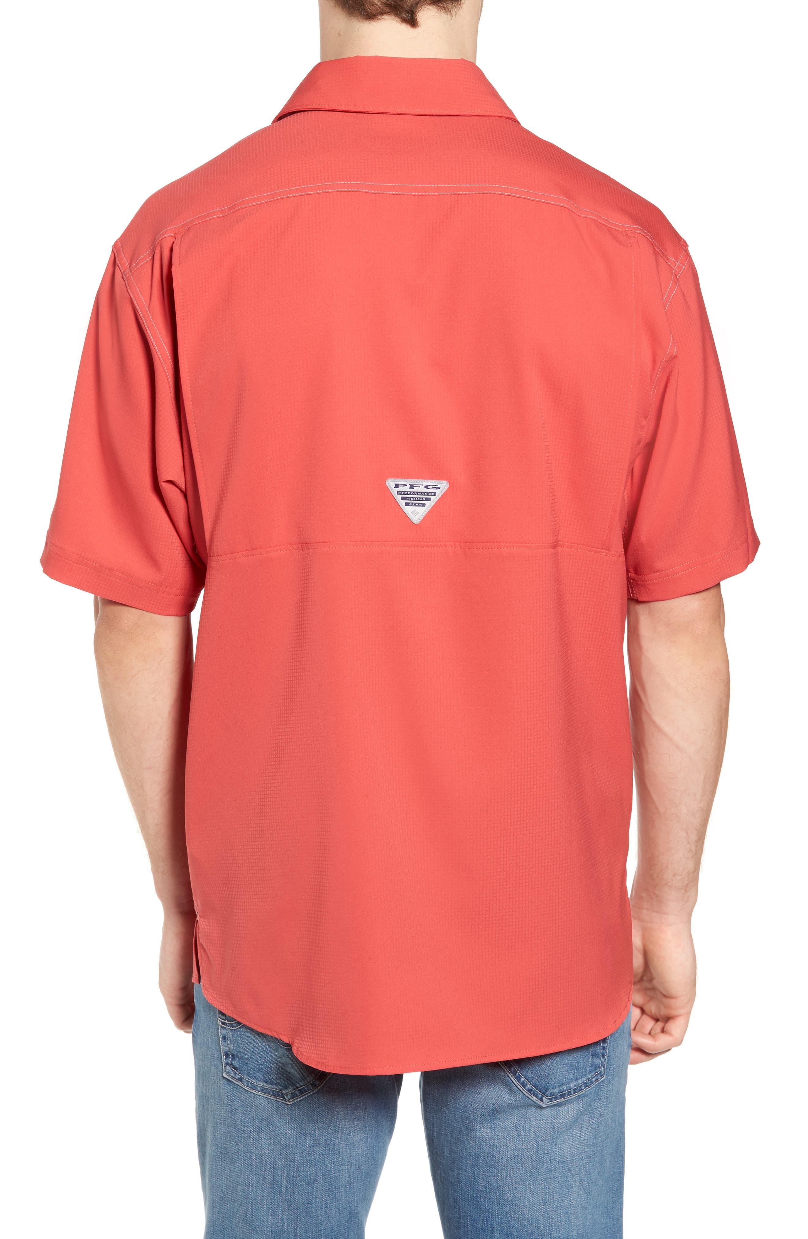 PFG Low Drag Offshore Woven Shirt,                             Alternate thumbnail 2, color,                             Sunset Red