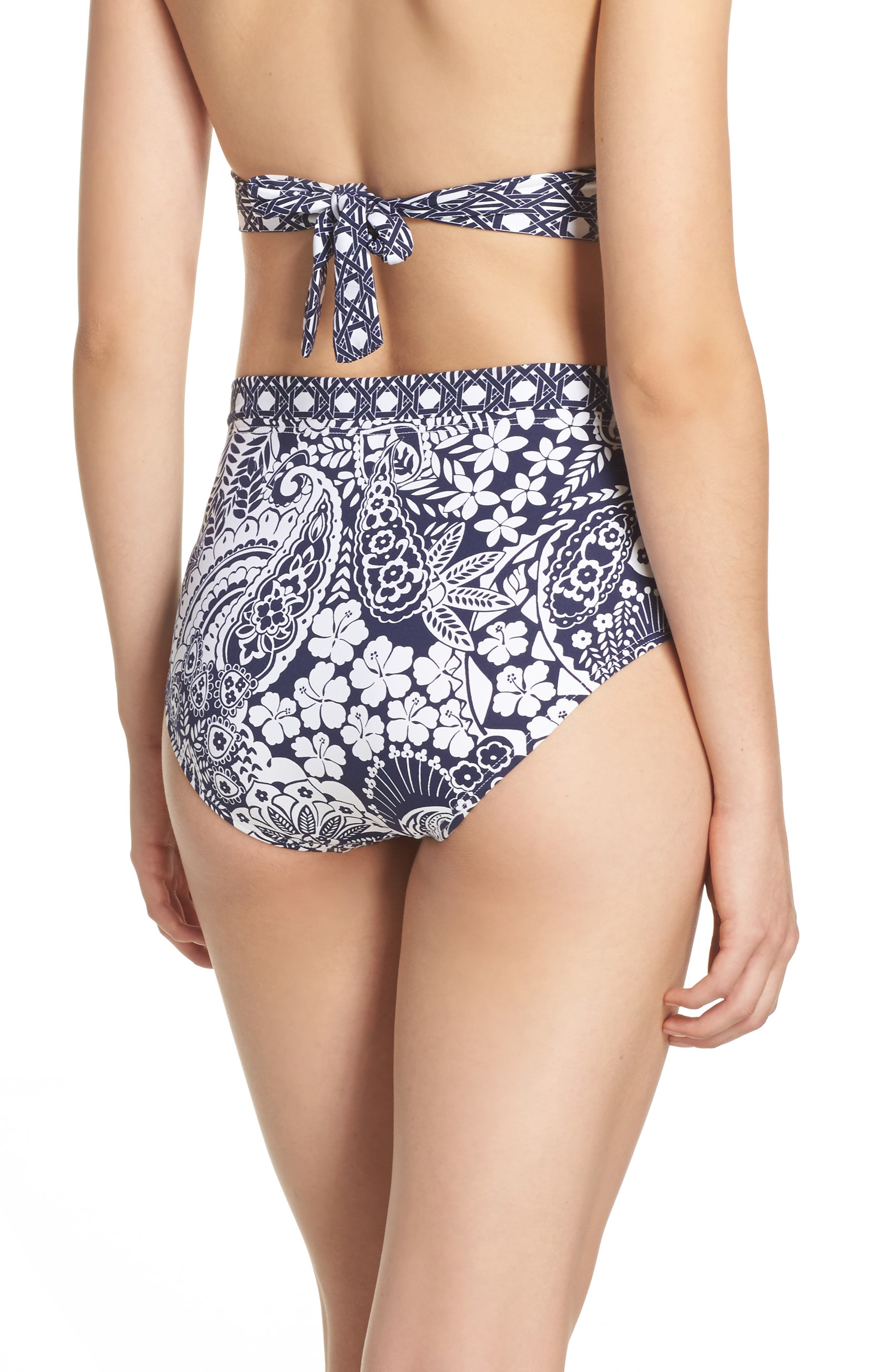 Paisley Paradise High Waist Bikini Bottoms,                             Alternate thumbnail 2, color,                             Mare Navy