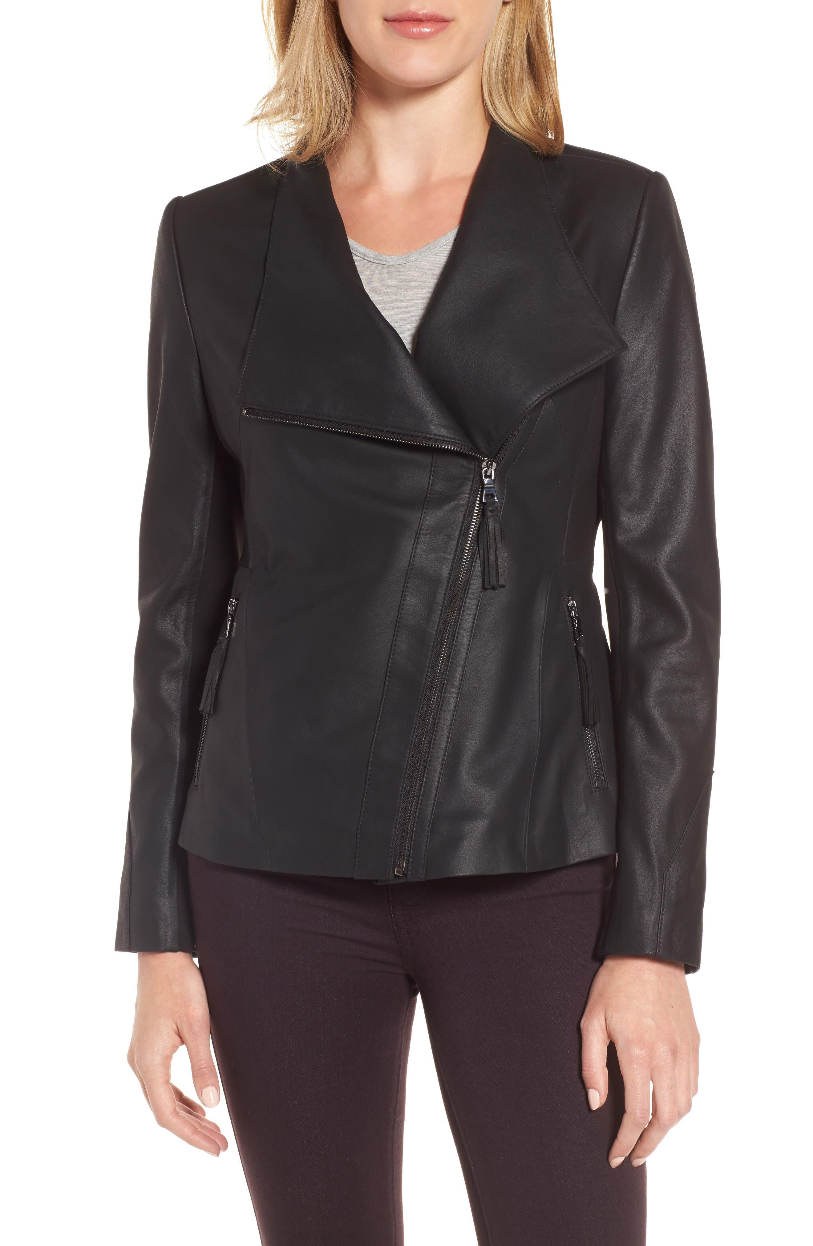 Main Image - Via Spiga Asymmetrical Leather Jacket