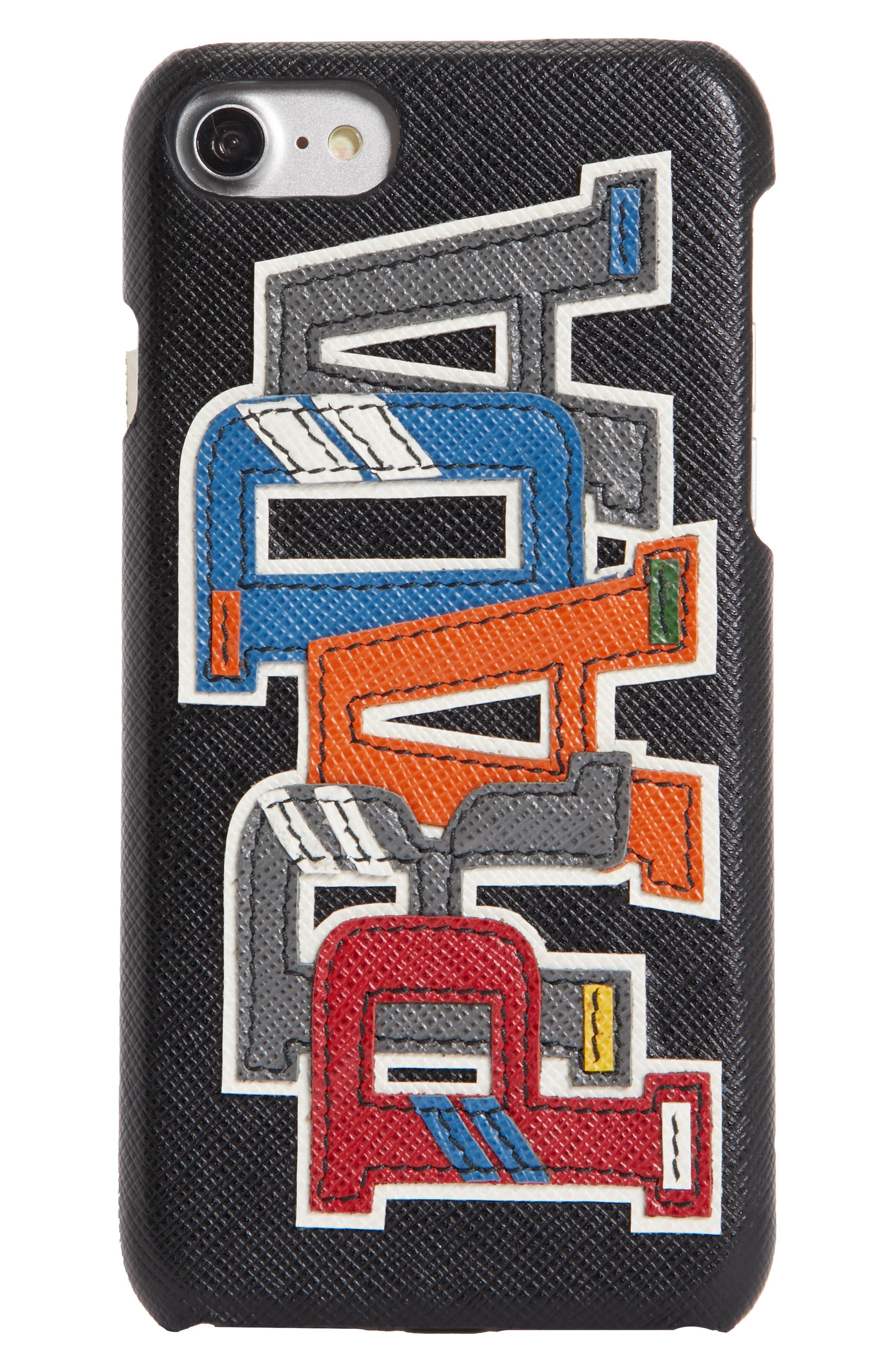 Saffiano Leather iPhone 6/6s/7/8 Case,                         Main,                         color, Nero Multi