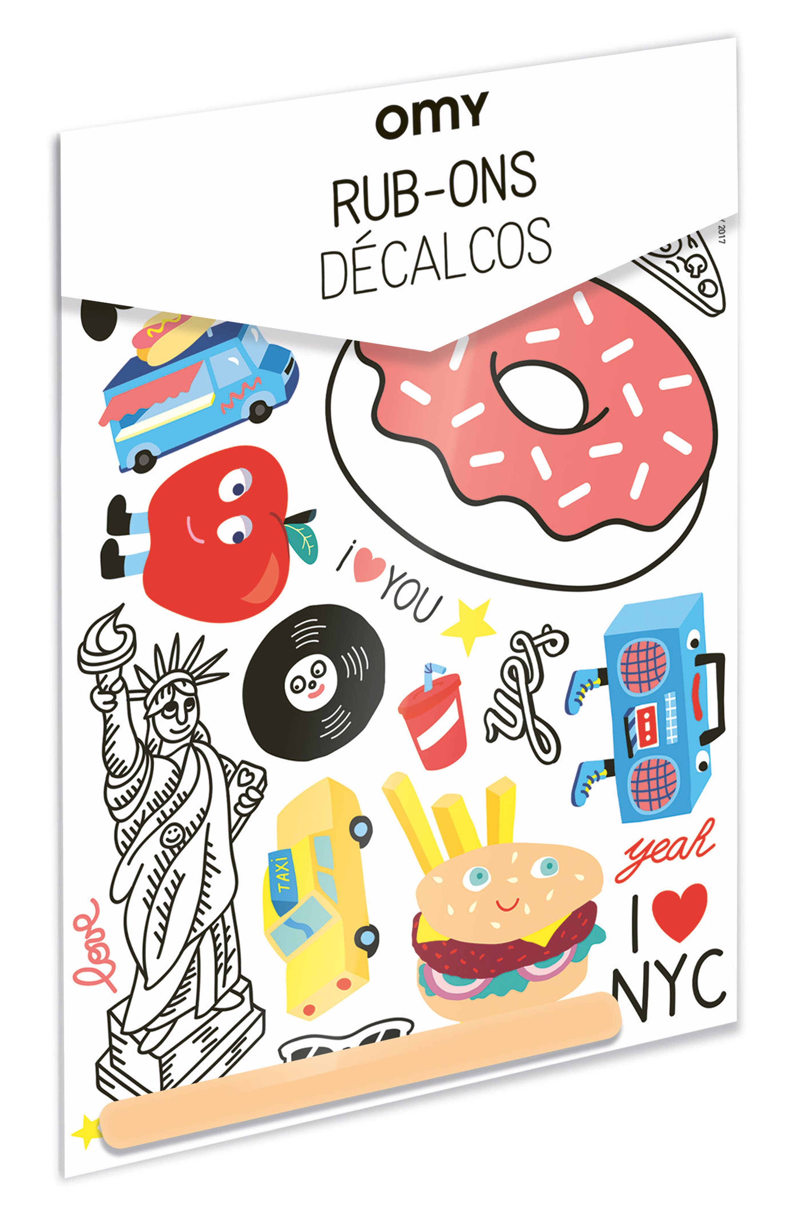 Alternate Image 1 Selected - OMY New York City Set of 20 Temporary Rub-On Decals