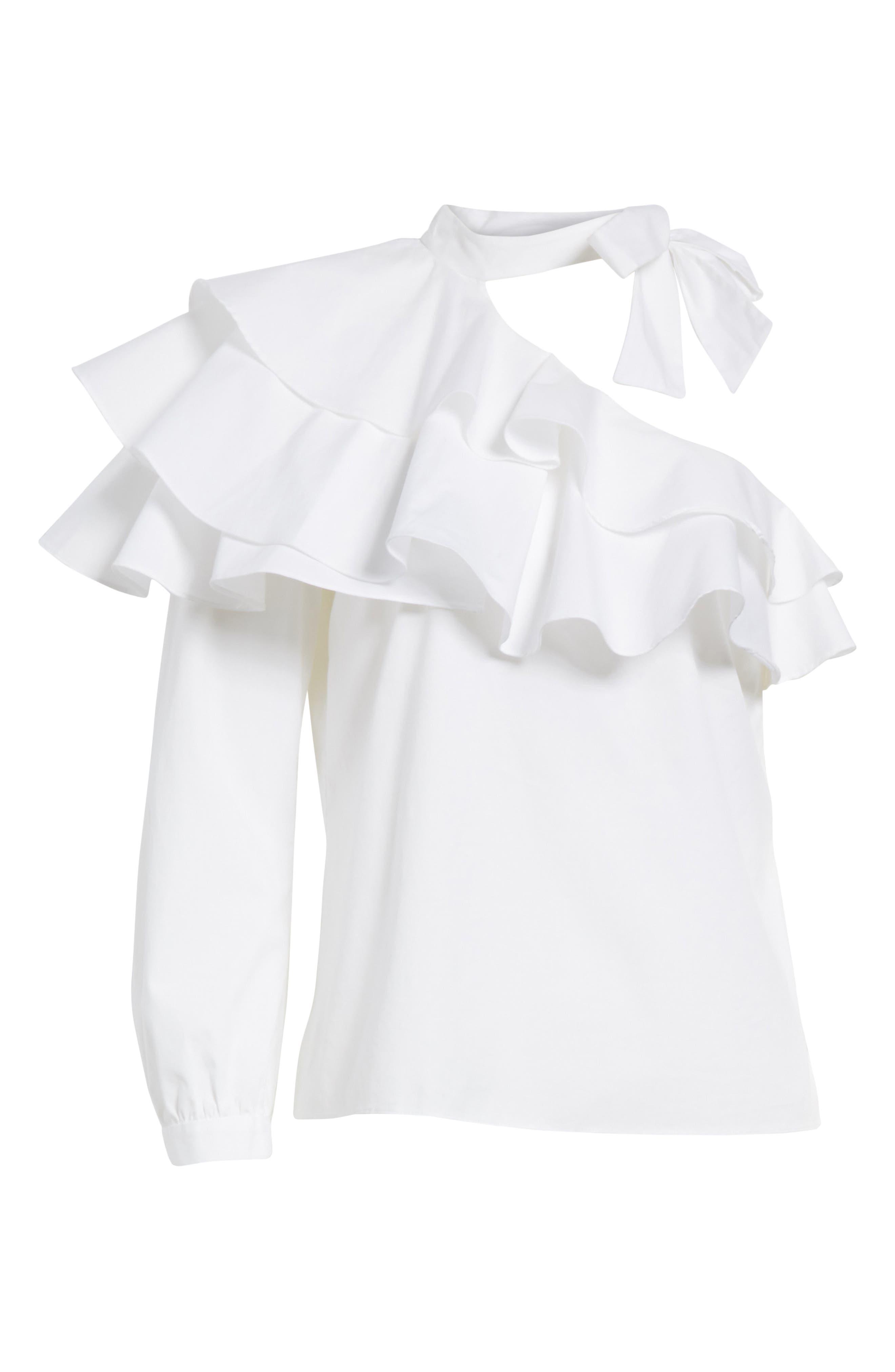 Gigi Ruffle One-Shoulder Top,                             Alternate thumbnail 6, color,                             White