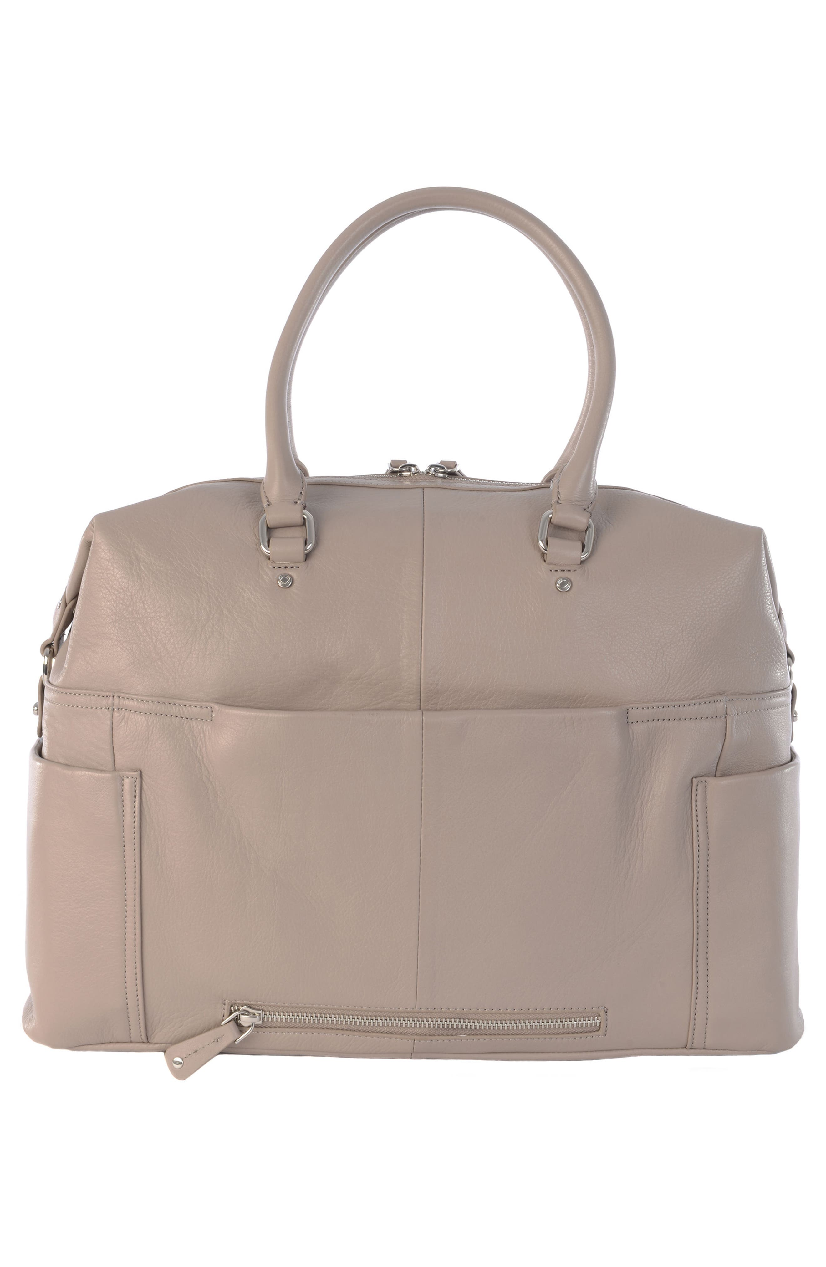Thea Leather Satchel,                             Alternate thumbnail 12, color,                             Warm Grey/ Silver