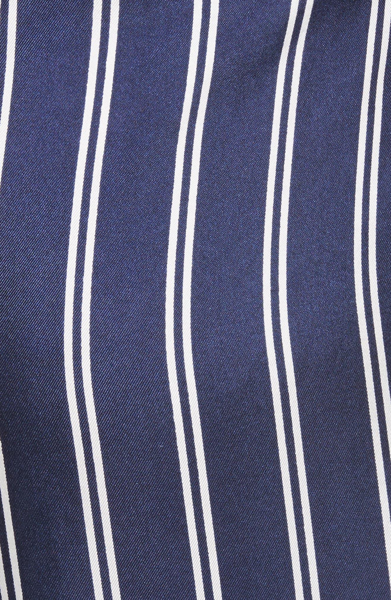 Addiena Stripe Silk Pants,                             Alternate thumbnail 5, color,                             Dark Navy