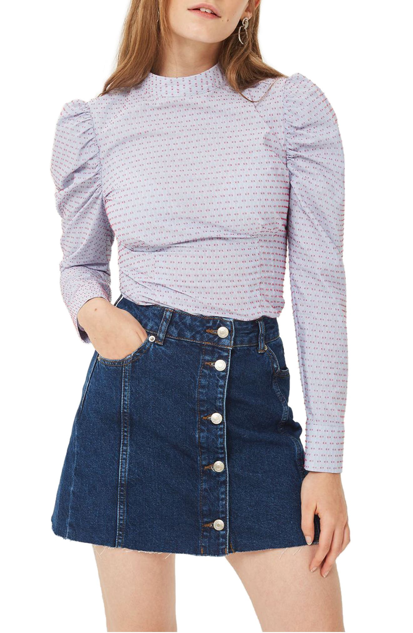 Topshop Button Denim Miniskirt