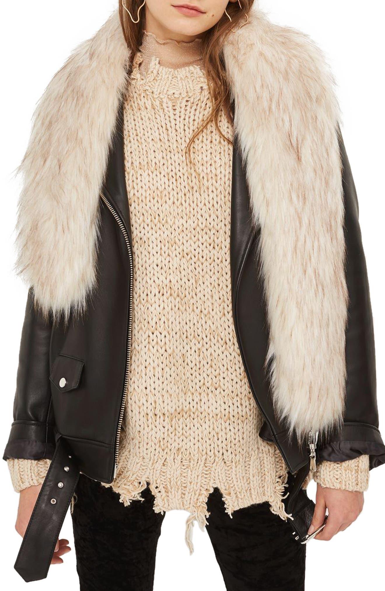 Faux Fur Stole,                         Main,                         color, Cream