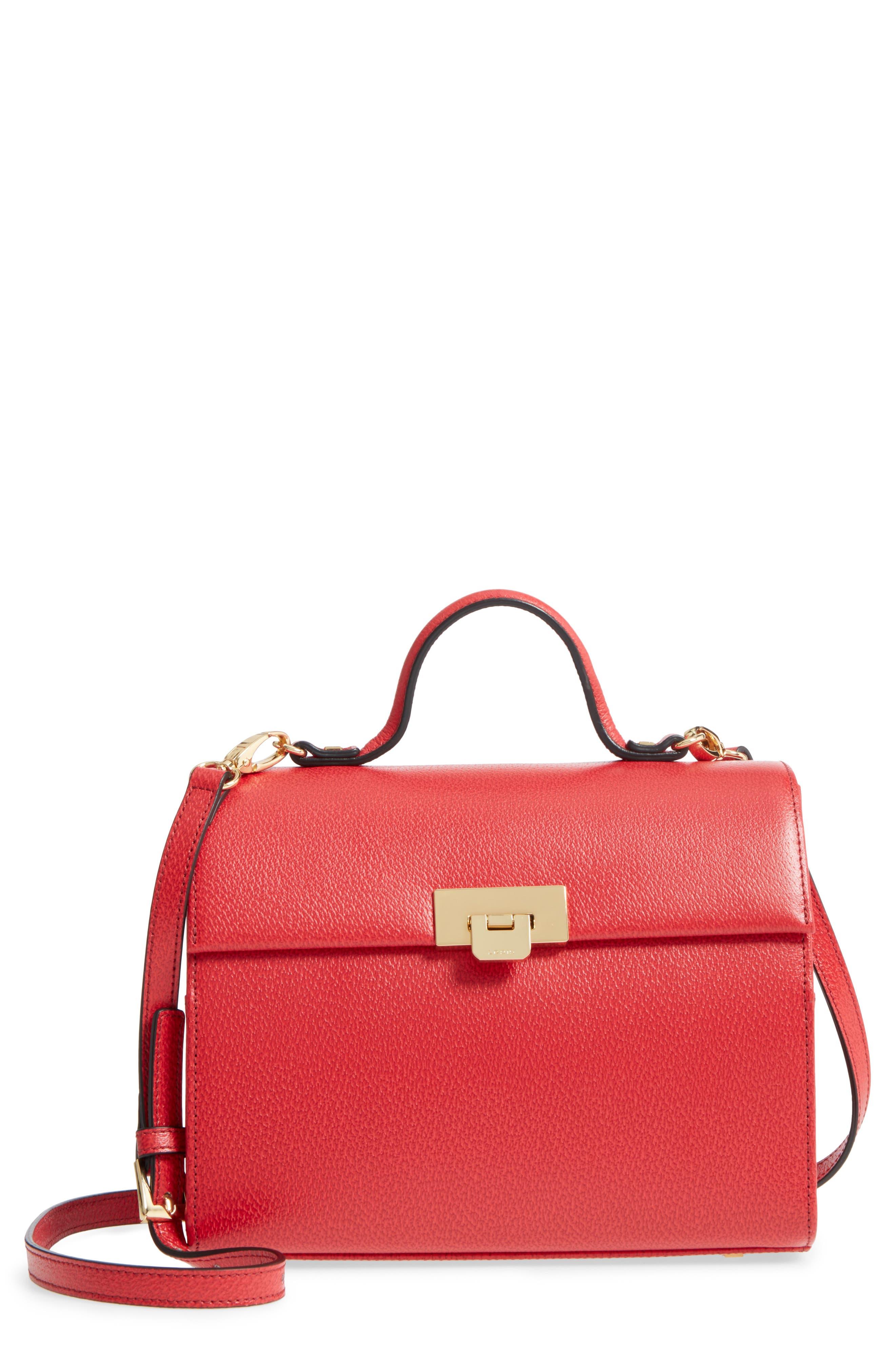 LODIS Stephanie Under Lock & Key - Medium Bree Leather Crossbody Bag,                         Main,                         color, Red