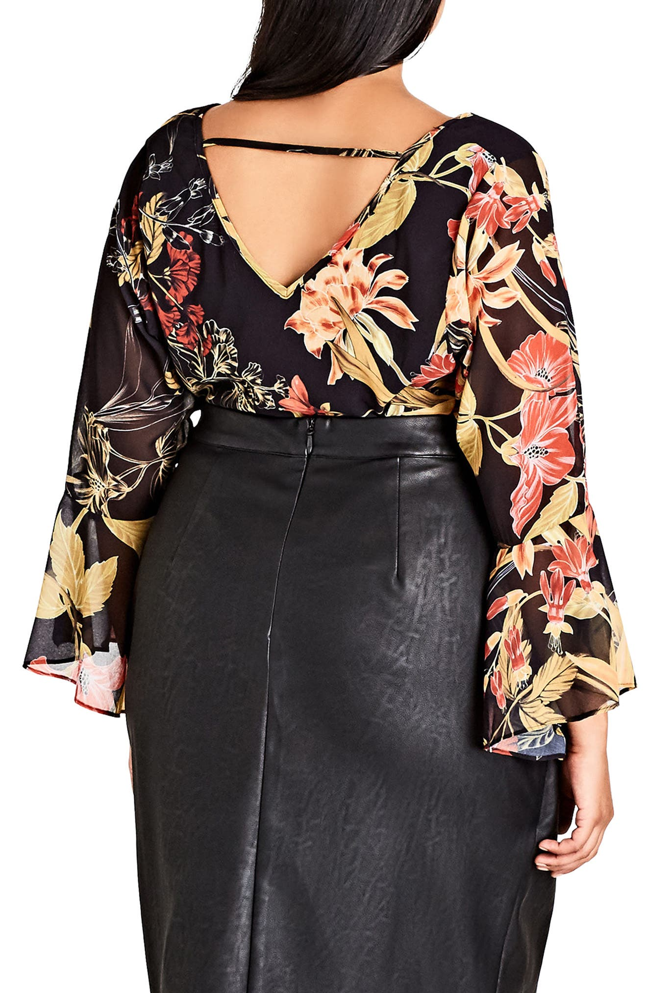 Alternate Image 2  - City Chic Gold Floral Bell Sleeve Blouse (Plus Size)