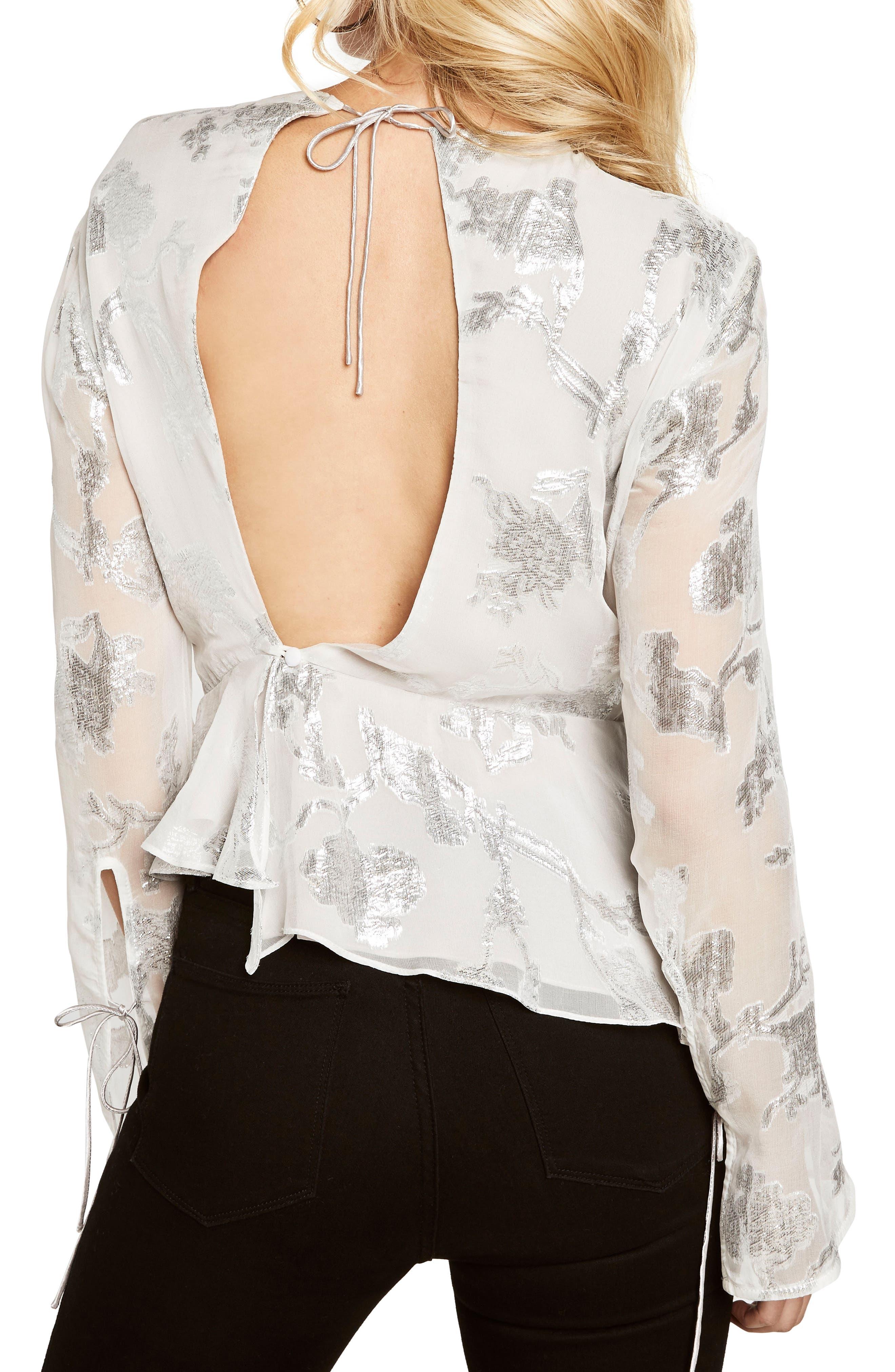 Alternate Image 2  - Bardot Metallic Cutout Silk Blend Blouse