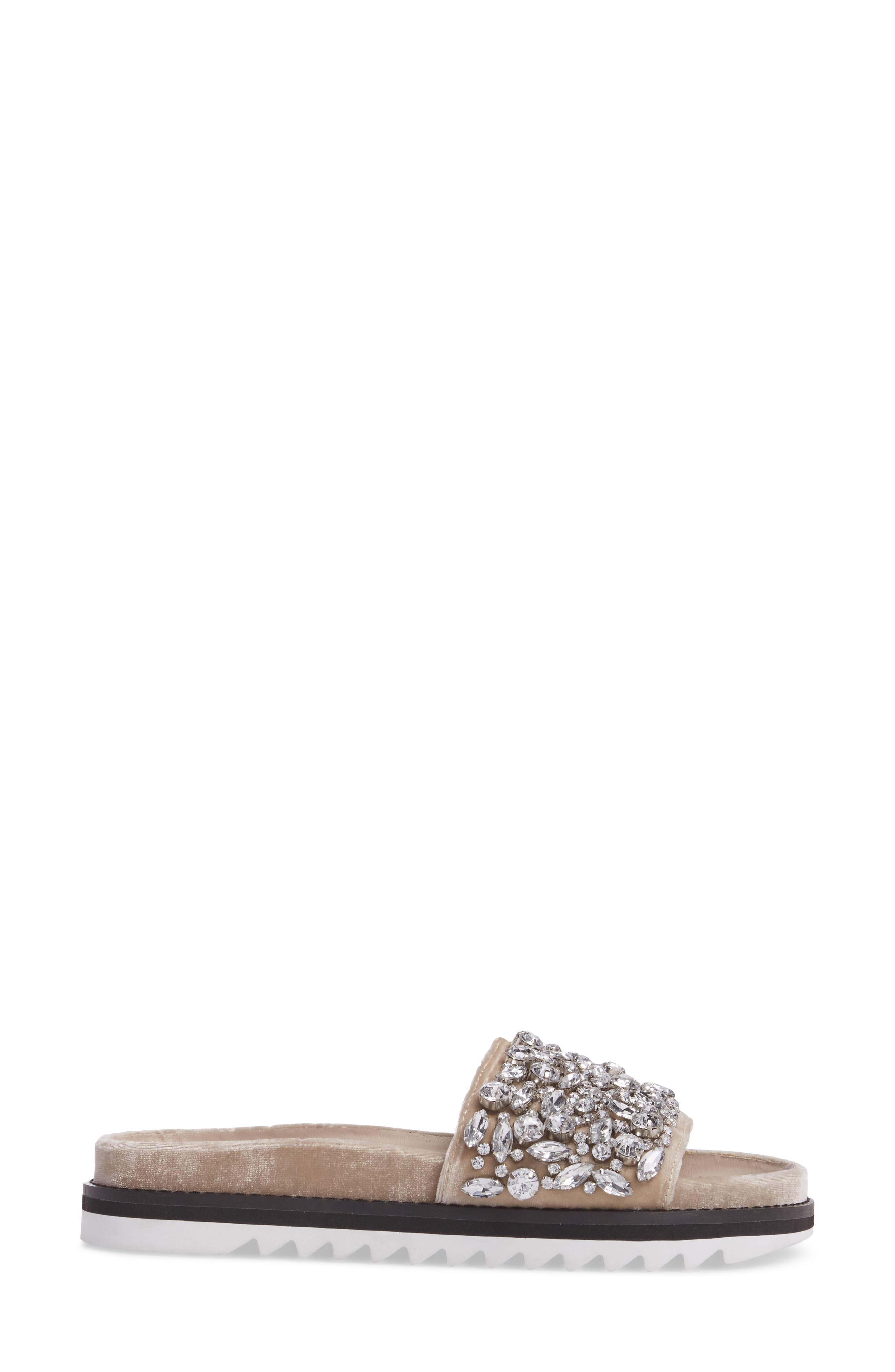 Jacory Crystal Embellished Slide Sandal,                             Alternate thumbnail 3, color,                             Fog