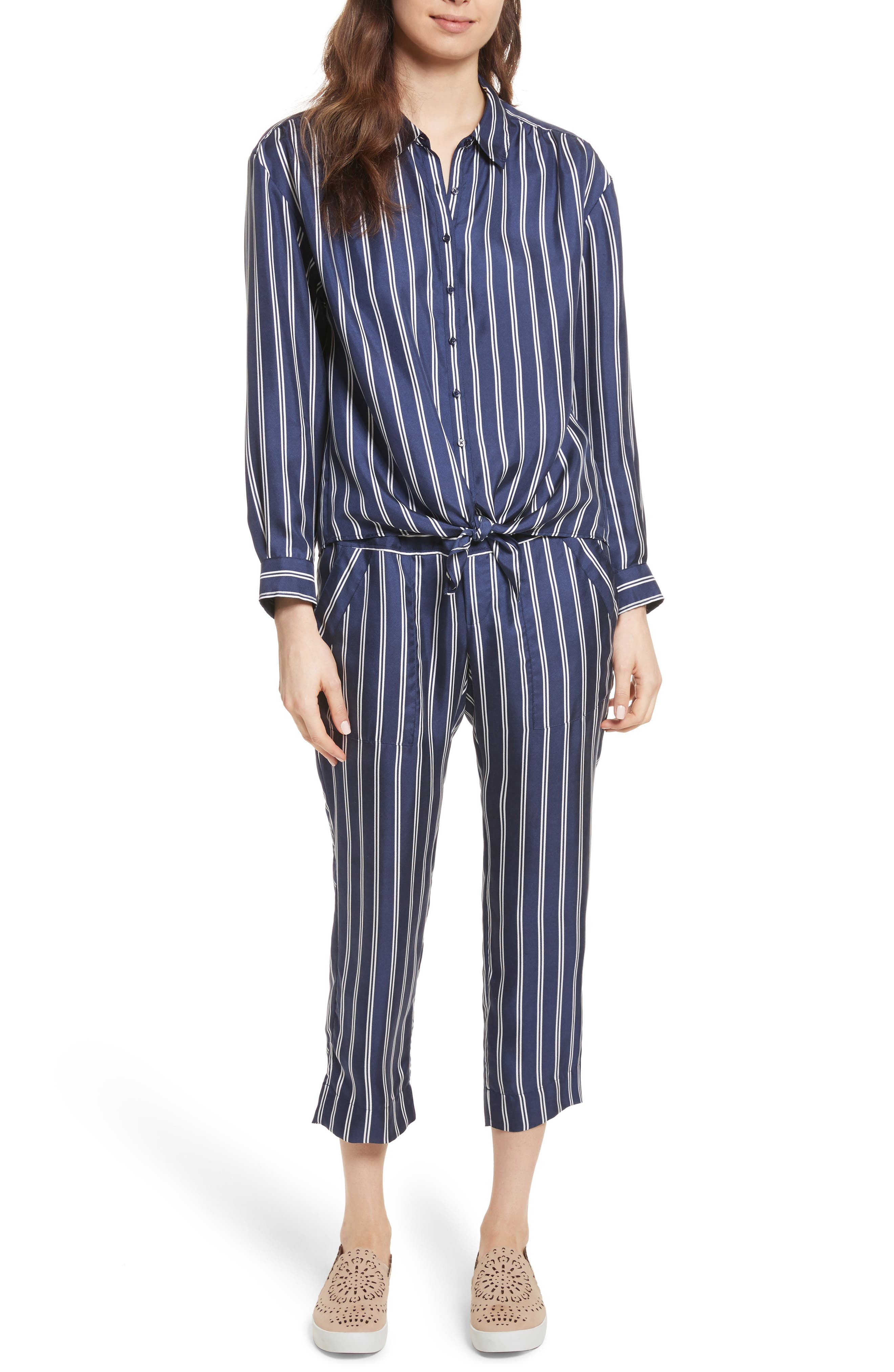 Adiba Stripe Silk Shirt,                             Alternate thumbnail 7, color,                             Dark Navy