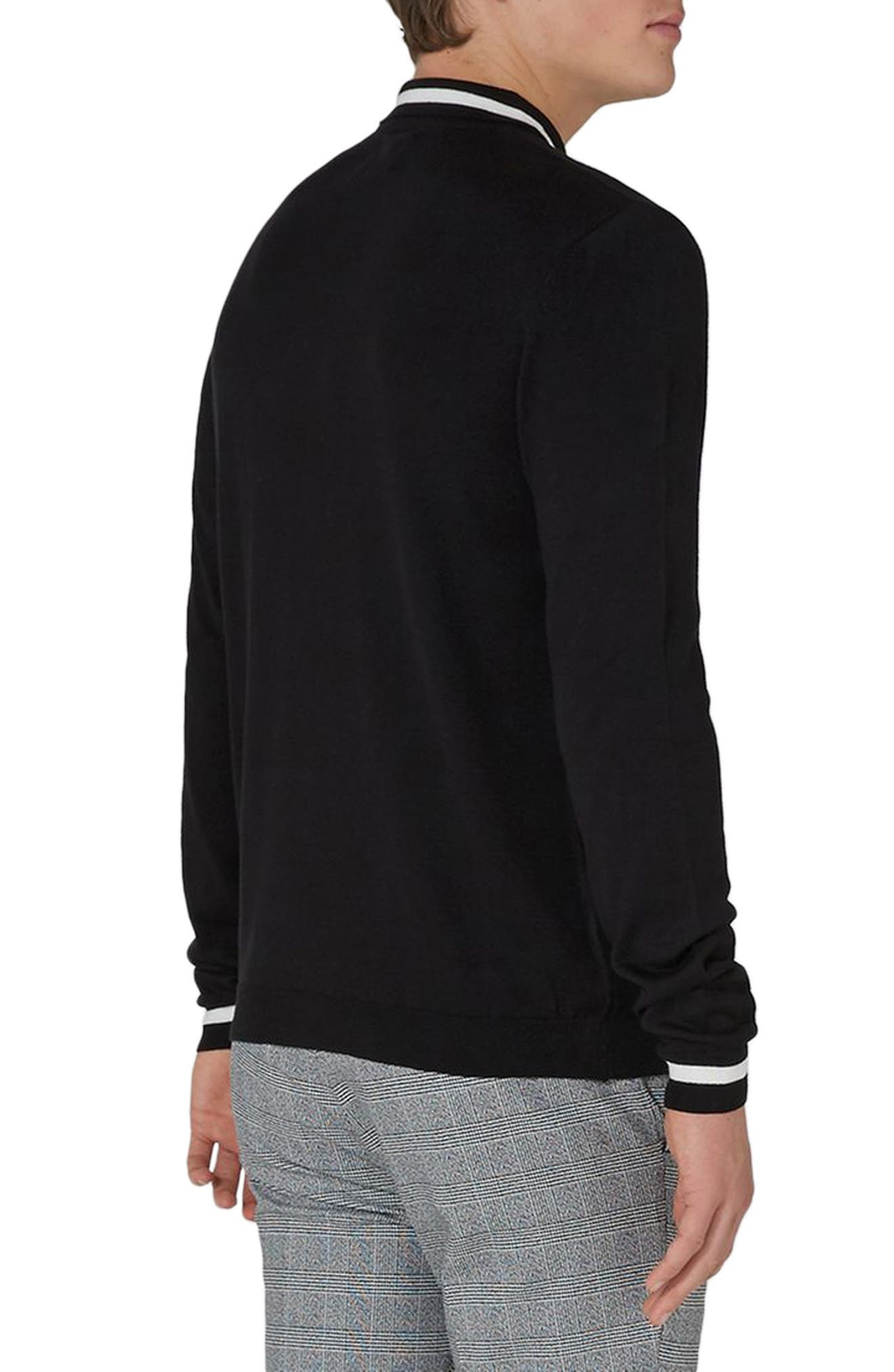 Classic Tipped Knit Polo,                             Alternate thumbnail 2, color,                             Black