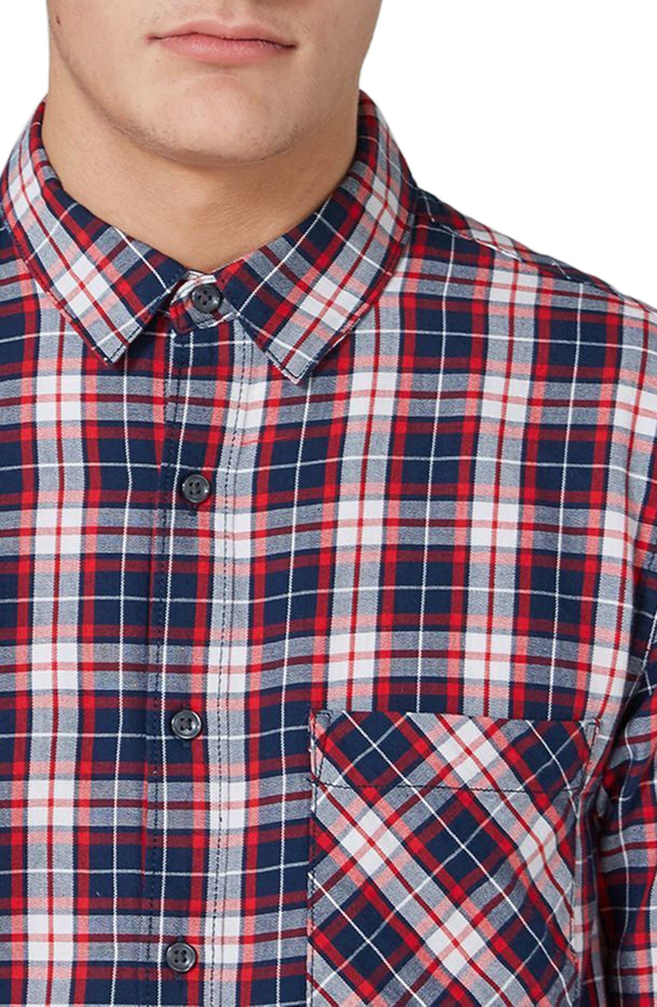 Classic Fit Check Shirt,                             Alternate thumbnail 3, color,                             Navy Multi