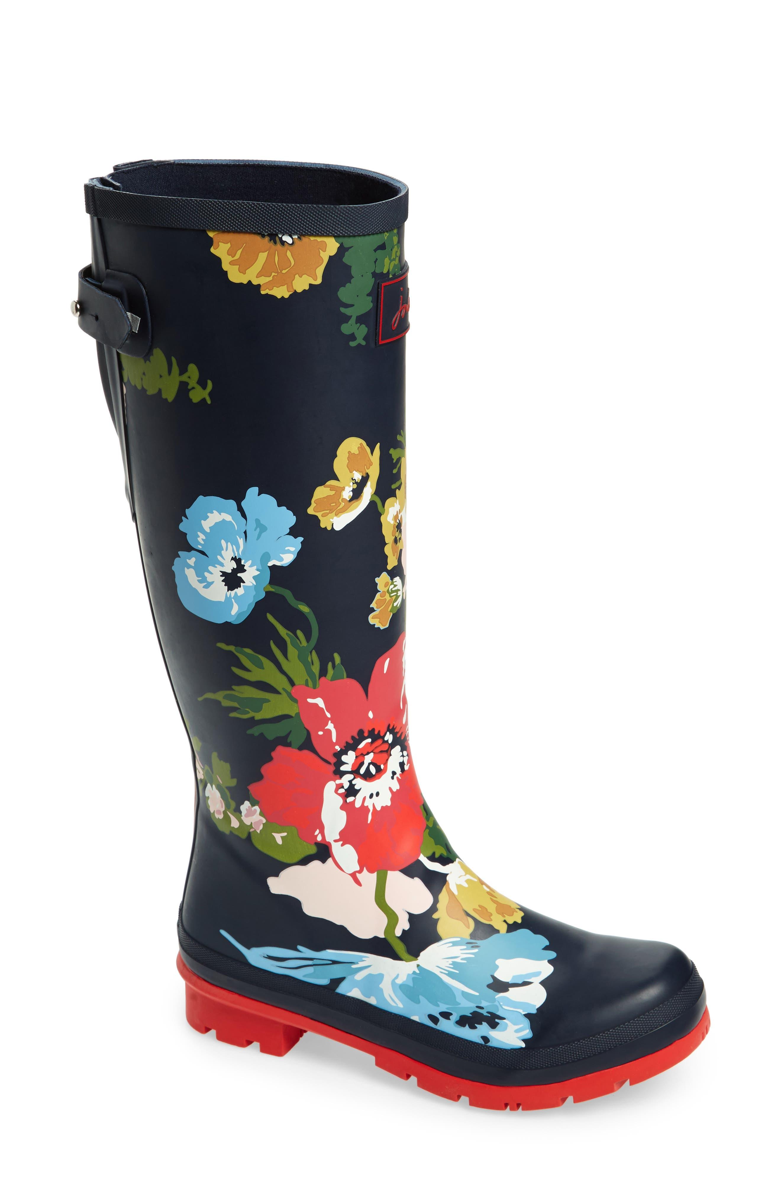 Ajusta Rain Boot,                         Main,                         color, French Navy Posy