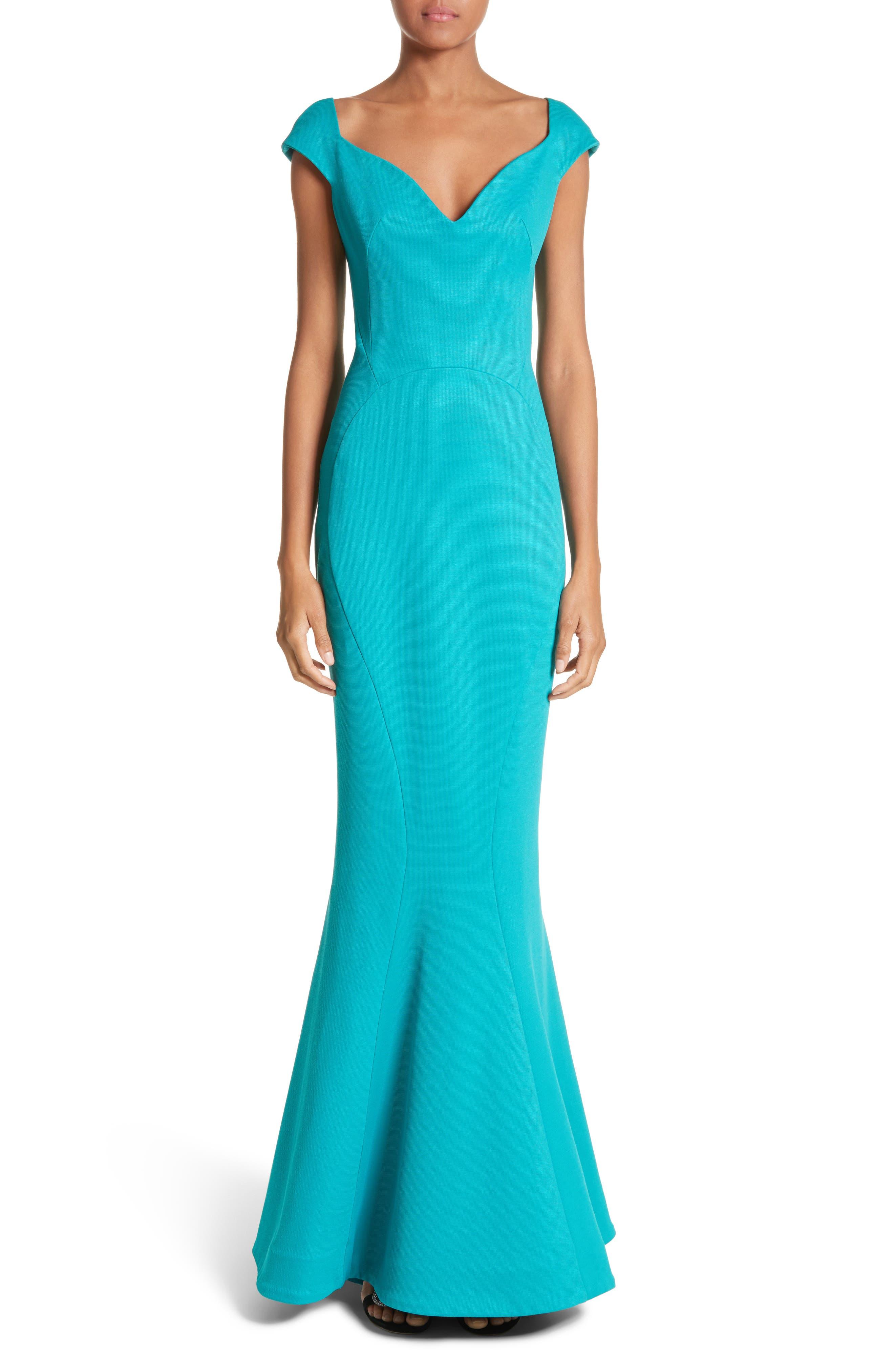 Cap Sleeve Bondage Jersey Mermaid Gown,                             Main thumbnail 1, color,                             Turquoise
