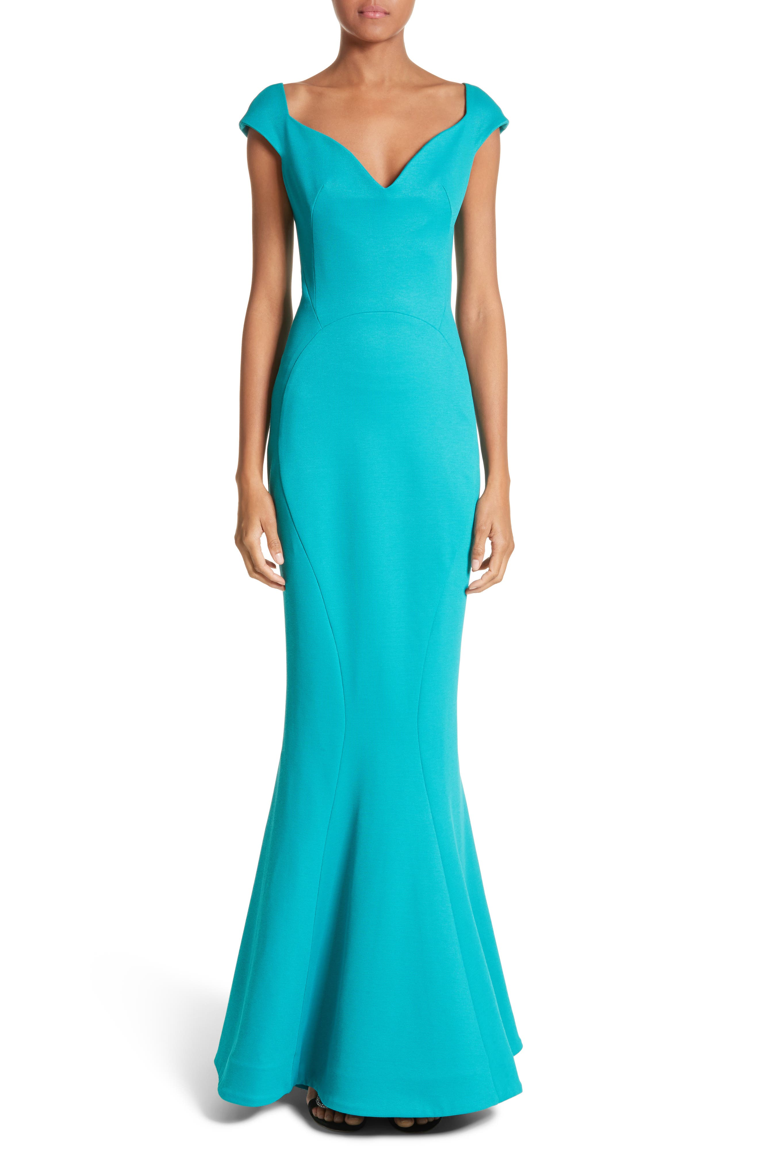 Cap Sleeve Bondage Jersey Mermaid Gown,                         Main,                         color, Turquoise