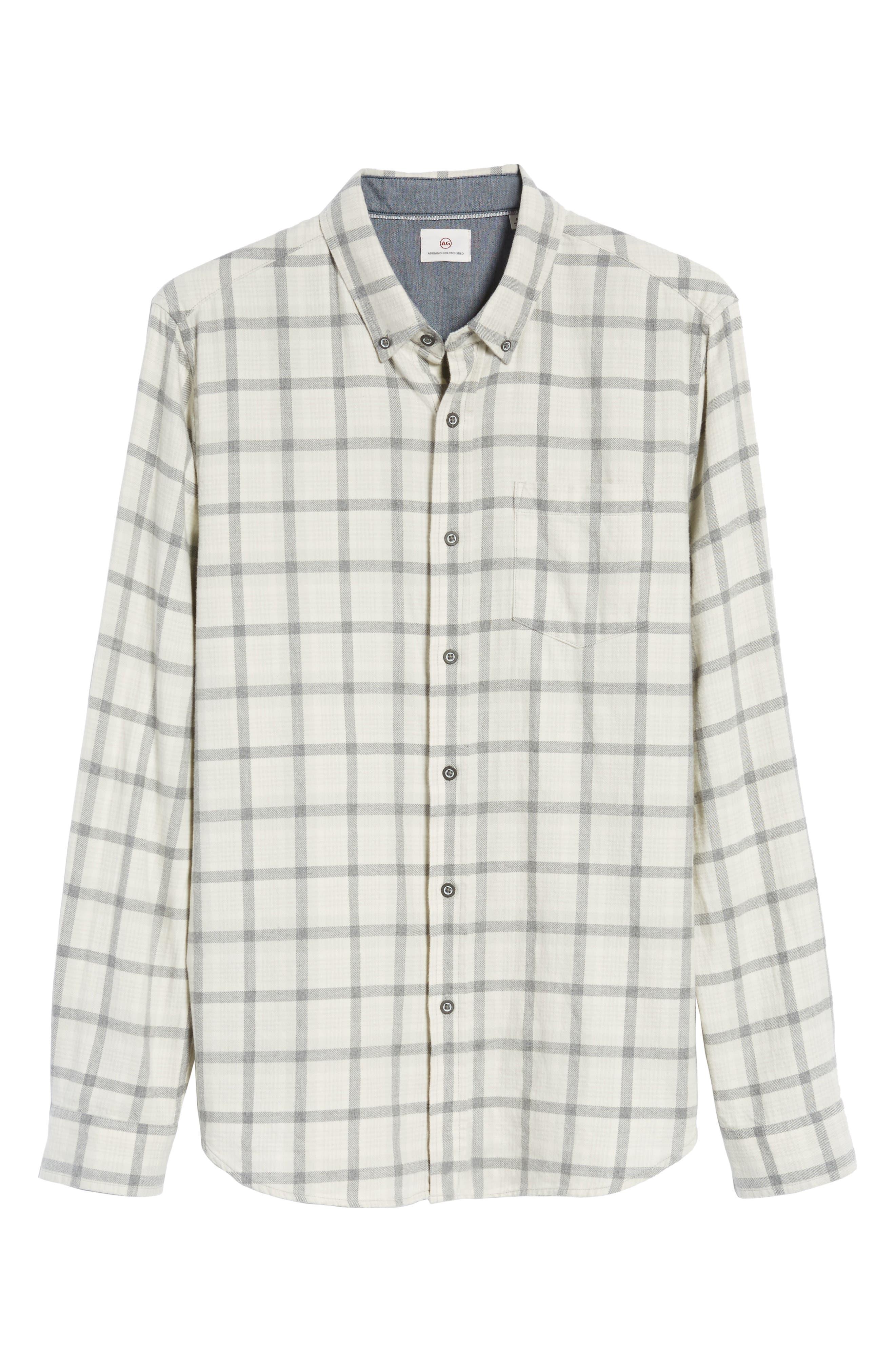 Grady Slim Fit Plaid Sport Shirt,                             Alternate thumbnail 6, color,                             Moon Glade/ Heather Grey