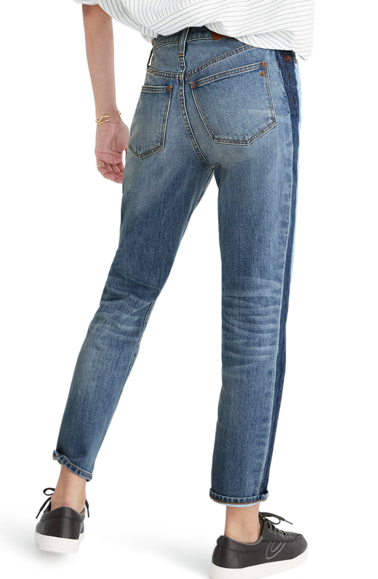 11-Inch High Rise Stripe Slim Boyfriend Jeans,                             Alternate thumbnail 2, color,                             Canton Wash