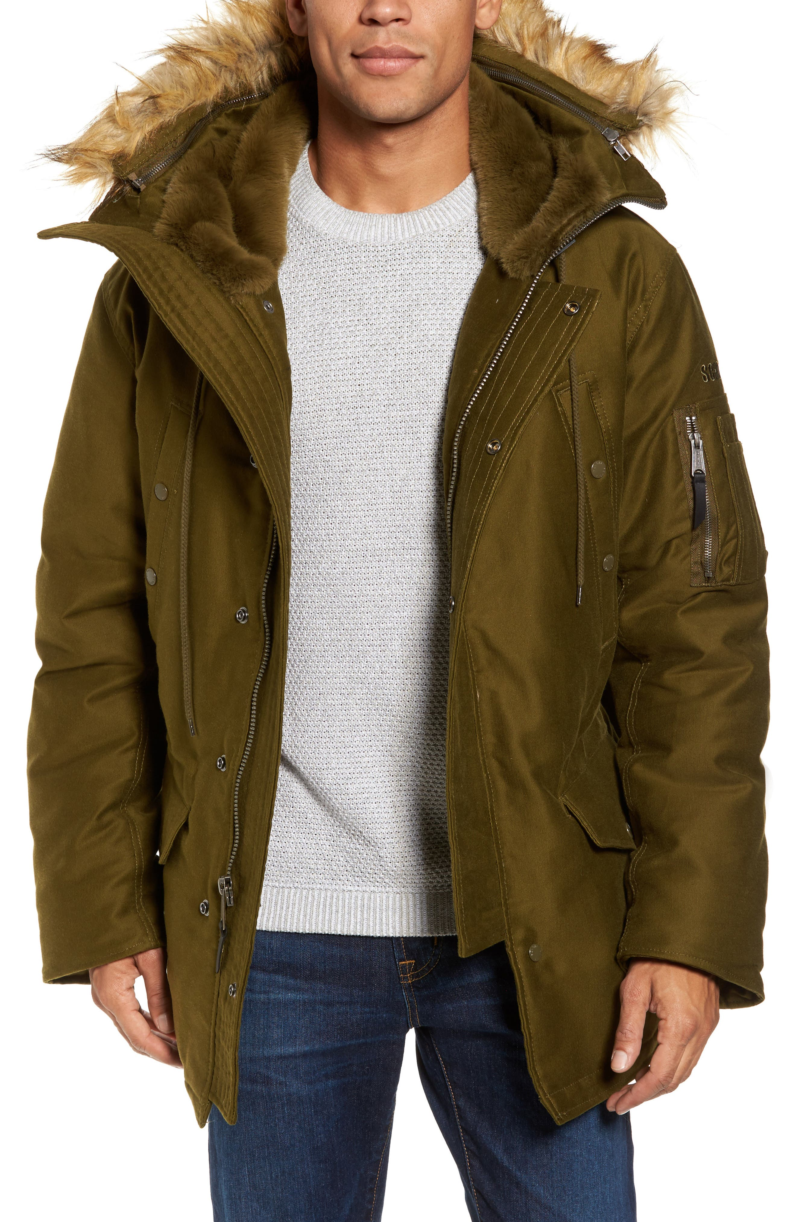 Schott NYC Bedford Corduroy Goose Down Jacket with Faux Fur Trim