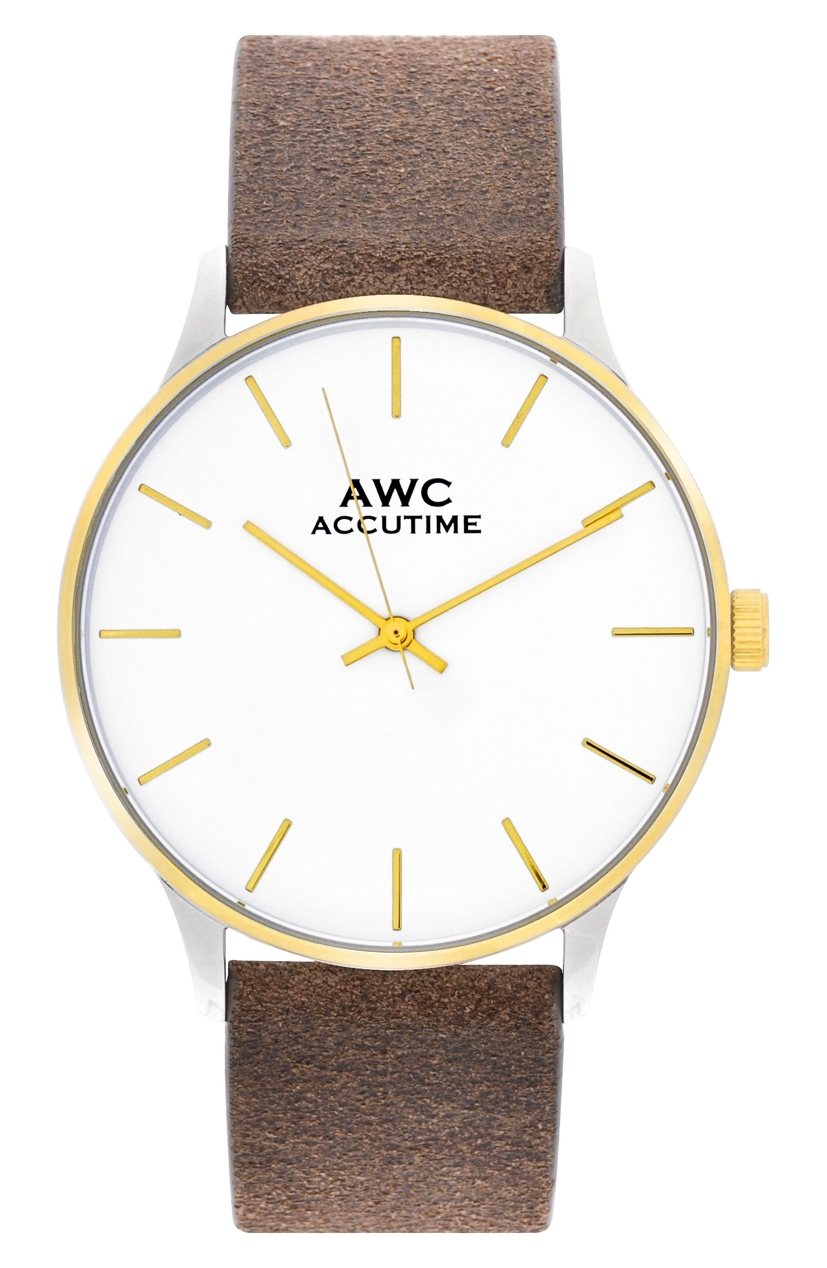 Accutime Mark Suede Strap Watch, 40mm