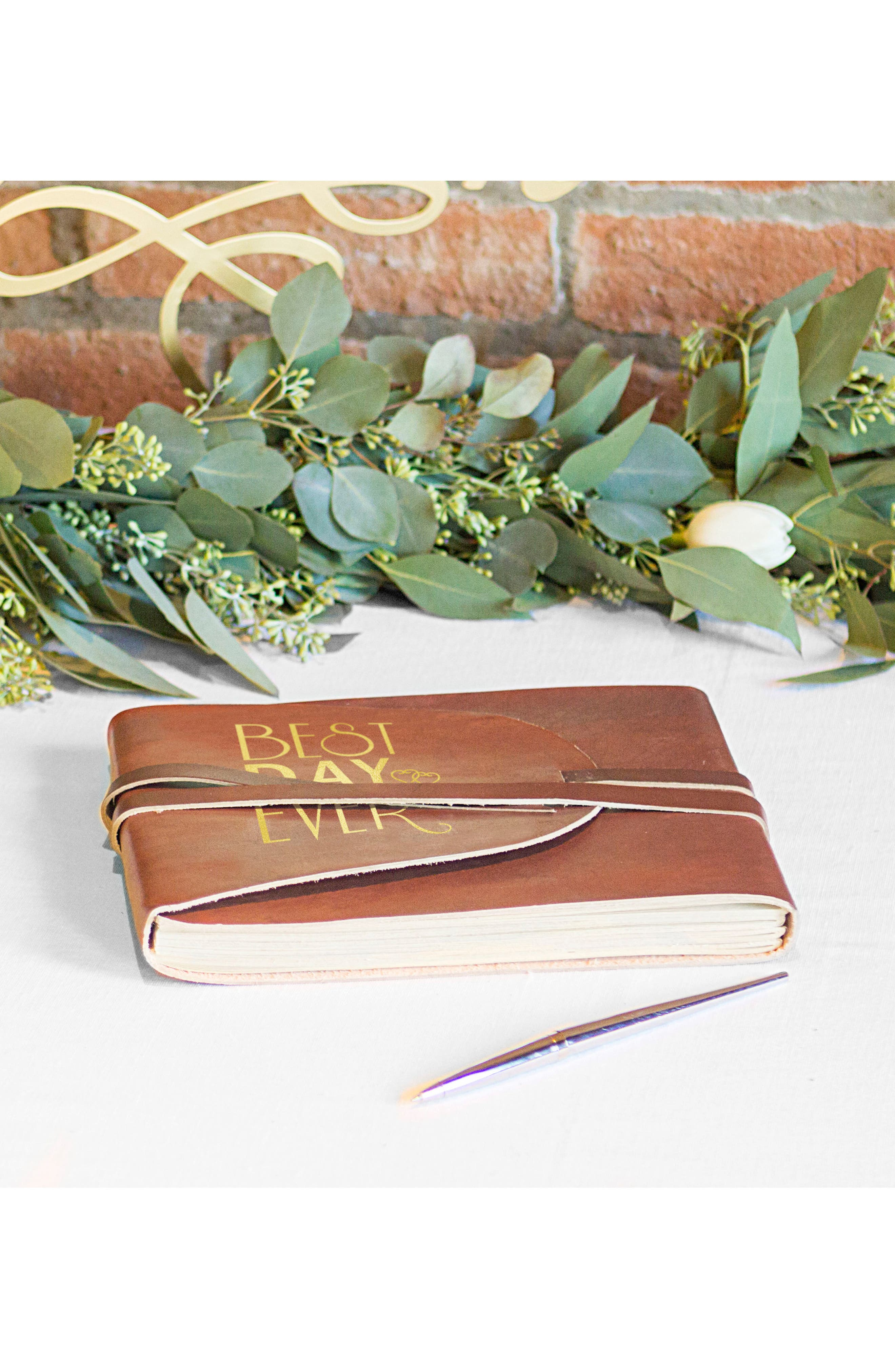 Best Day Ever Leather Guest Book,                             Alternate thumbnail 5, color,                             Gold