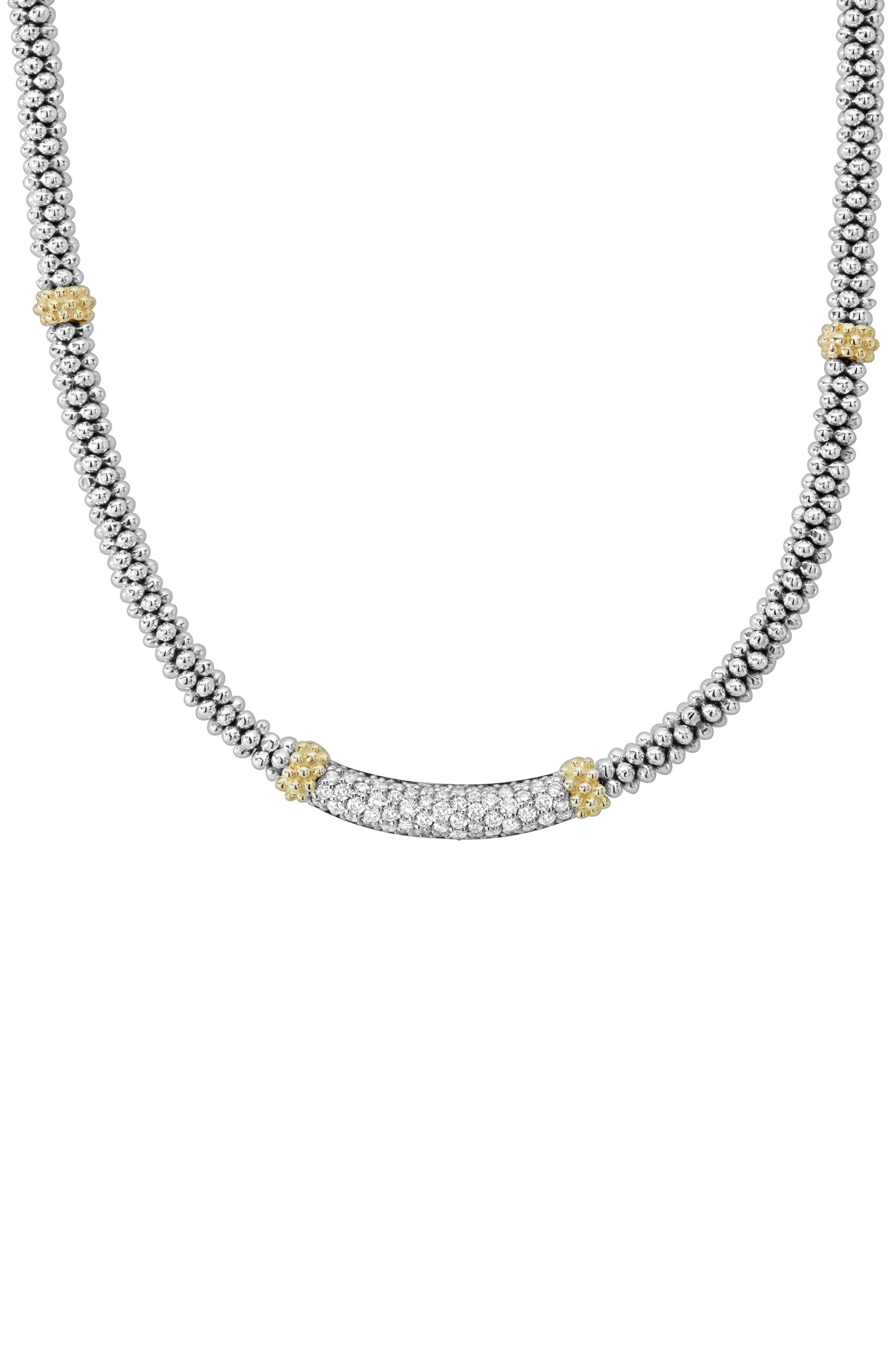 Lux Diamond Rope Necklace,                             Alternate thumbnail 3, color,                             Silver/ Diamond