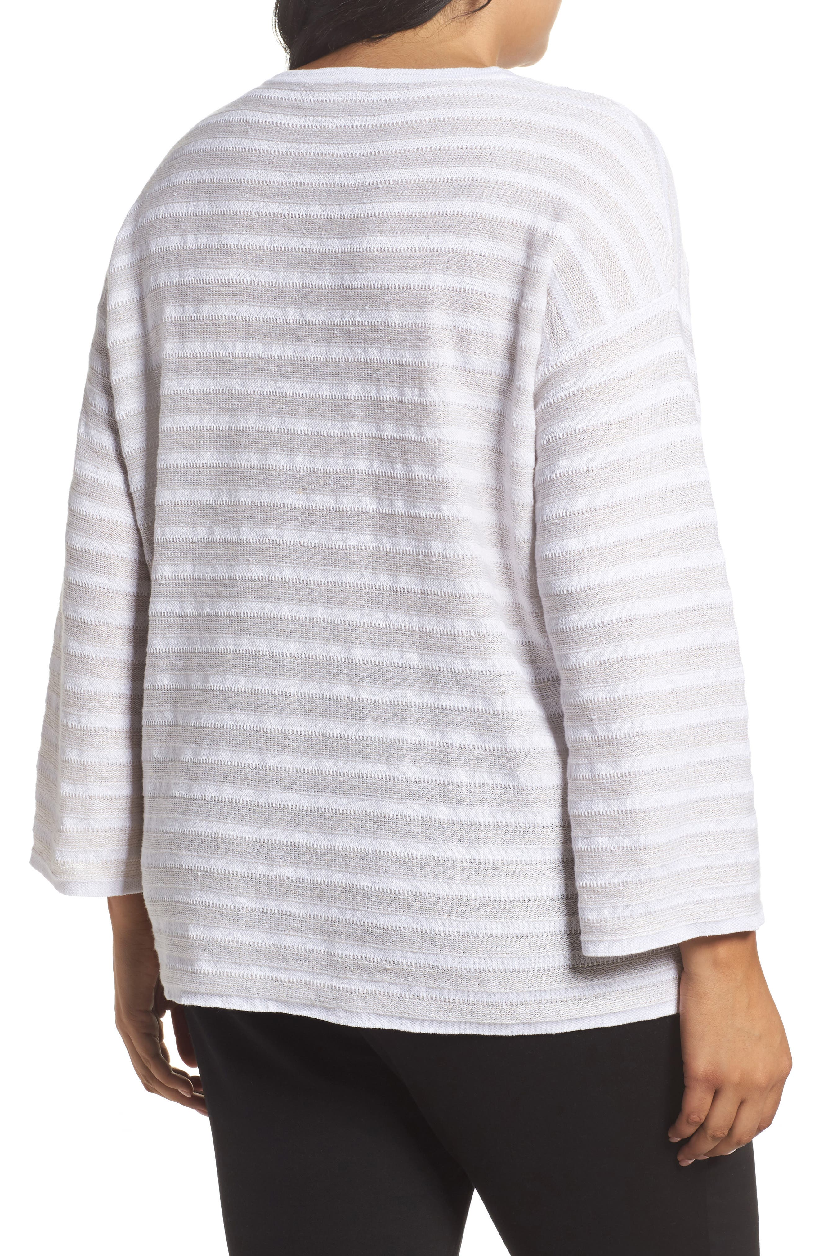 Alternate Image 2  - Eileen Fisher Textured Organic Linen Sweater (Plus Size)
