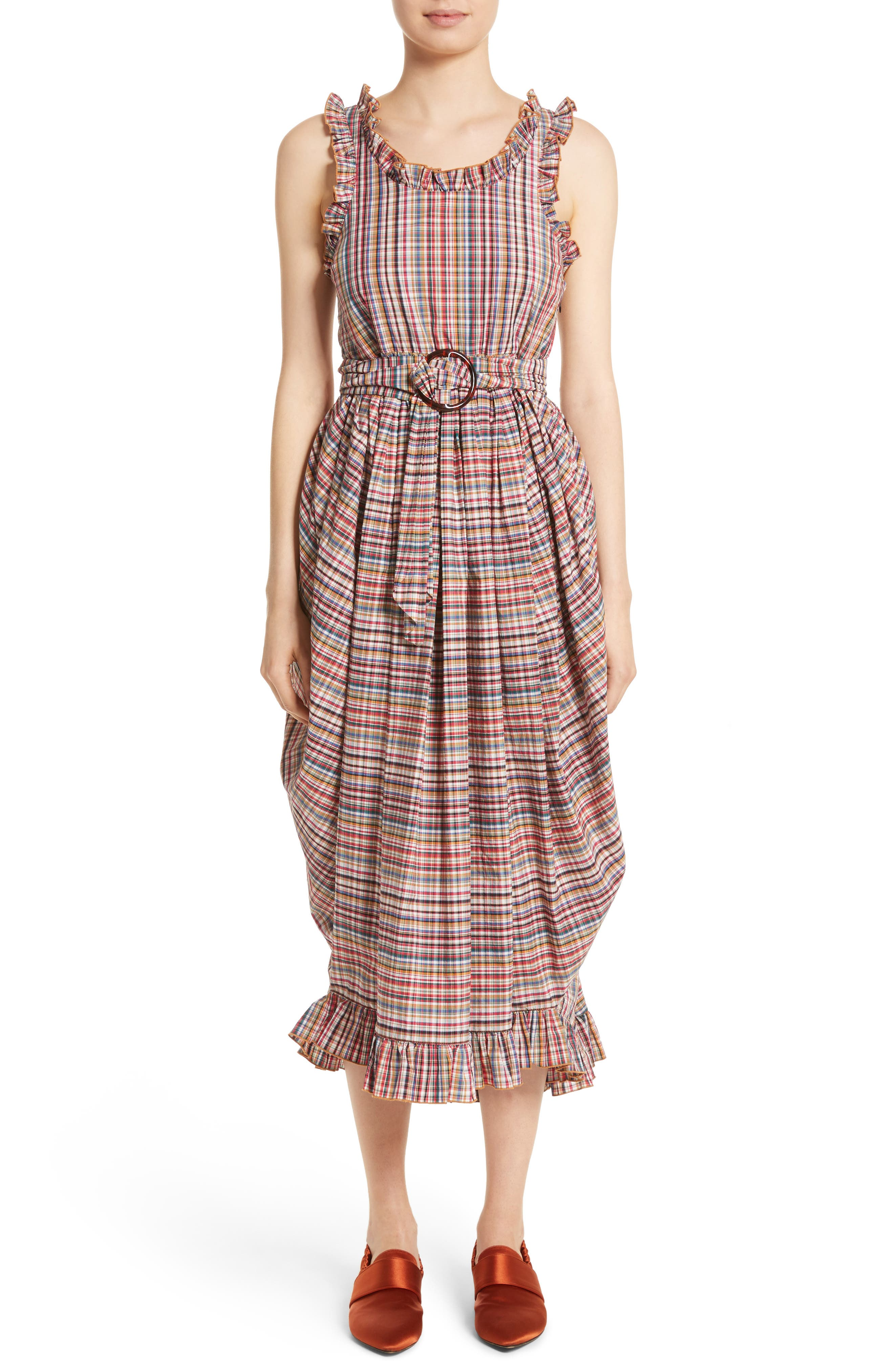Isa Arfen Ruffle Trim Billow Dress