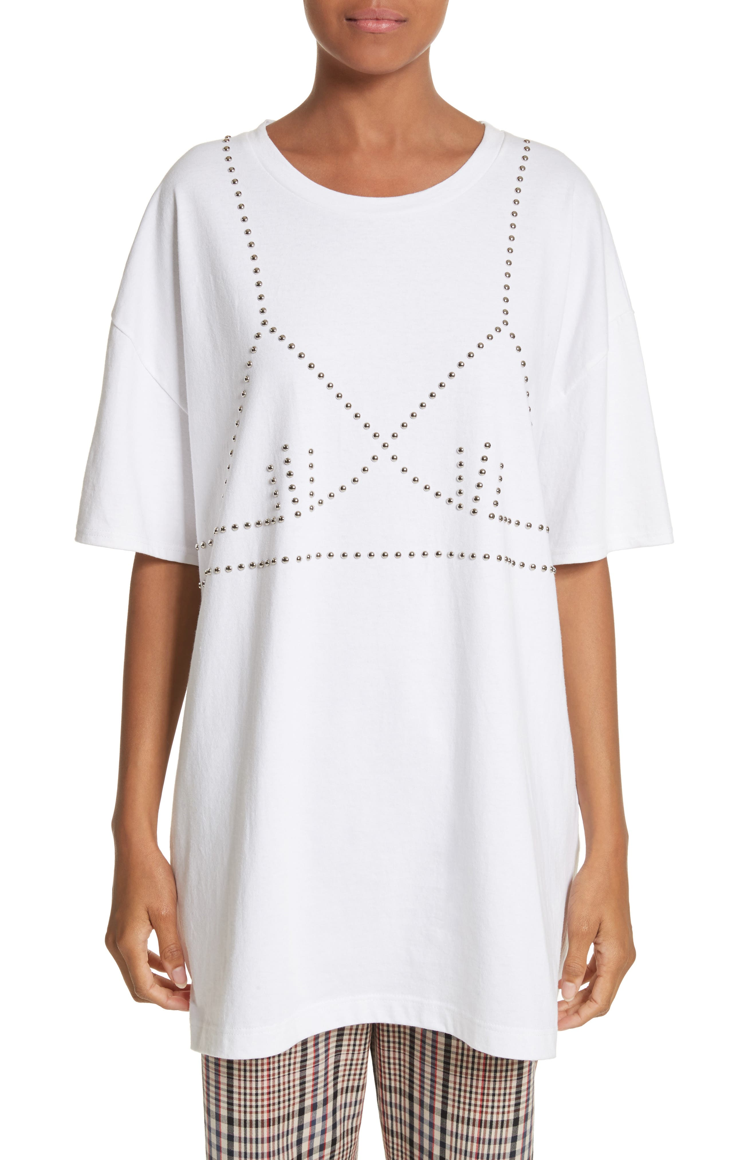 Oversize Studded Tee,                         Main,                         color, White